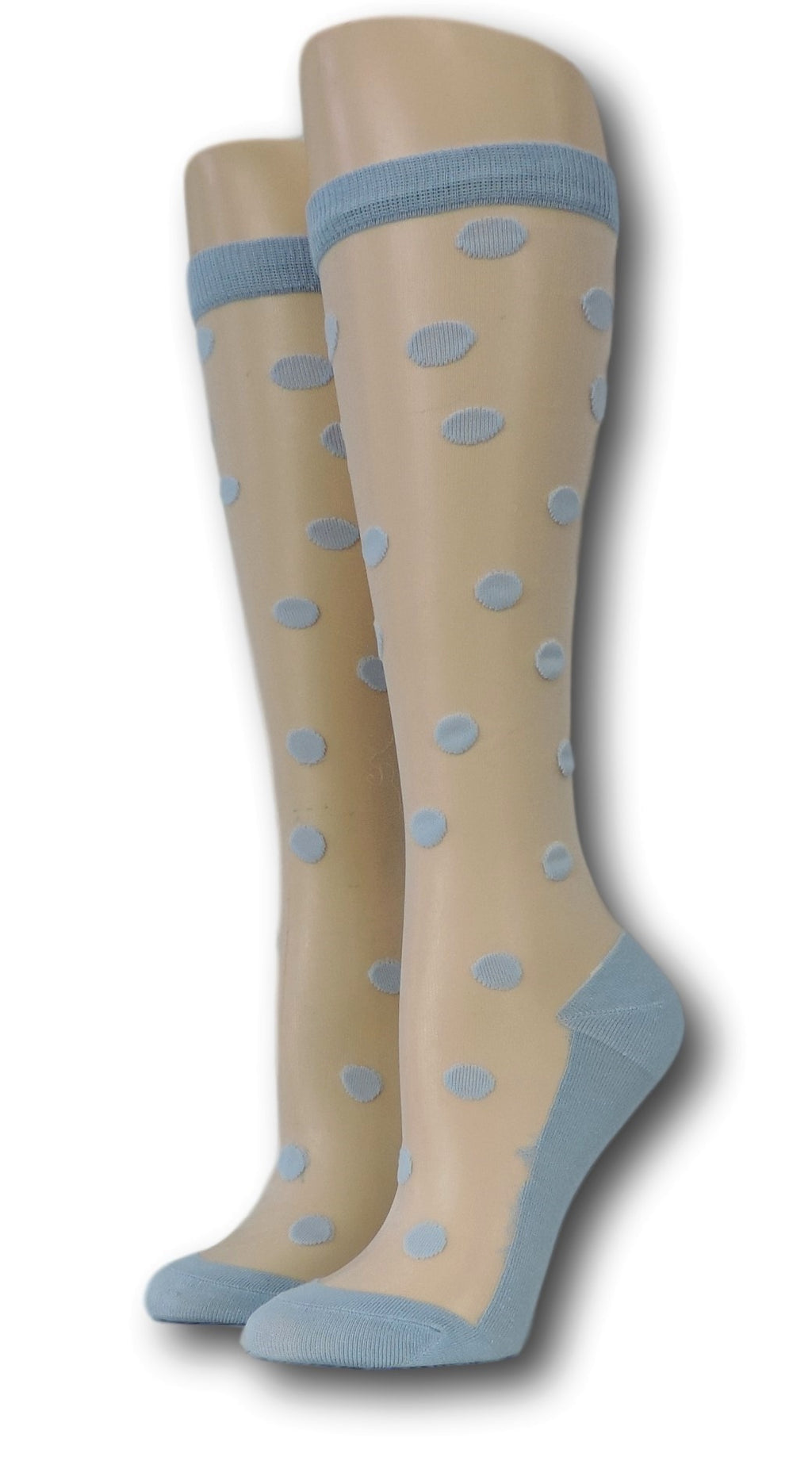Blue Polka Knee High Sheer Socks