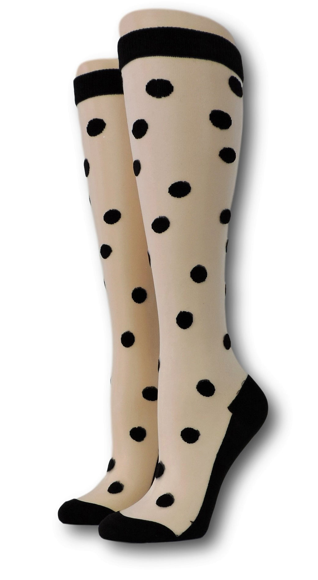 Black Polka Knee High Sheer Socks