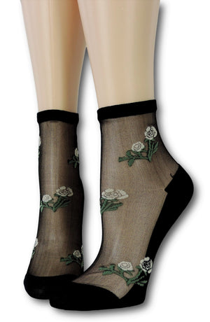 Black Floret Sheer Socks