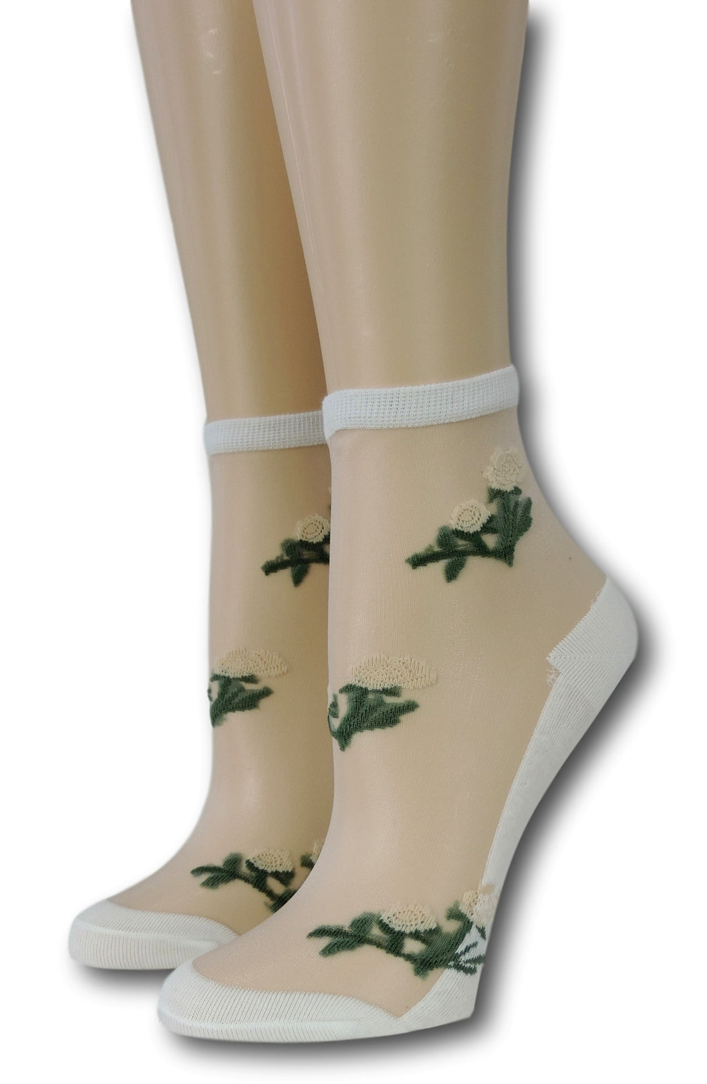White Floret Sheer Socks