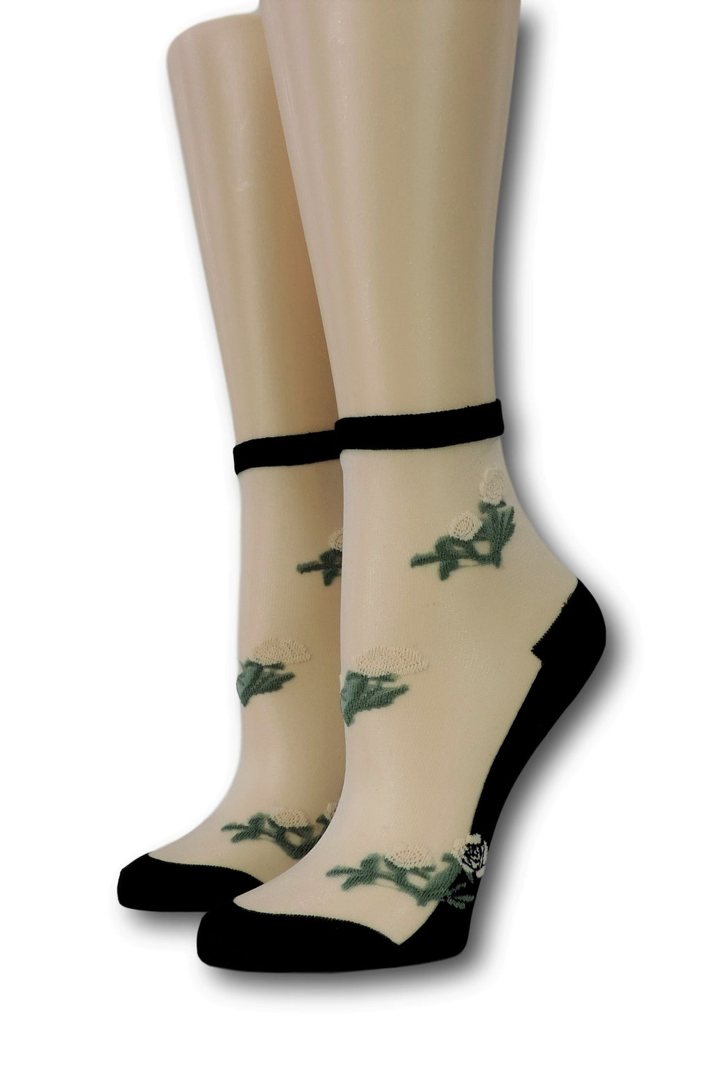 Coal Floret Sheer Socks