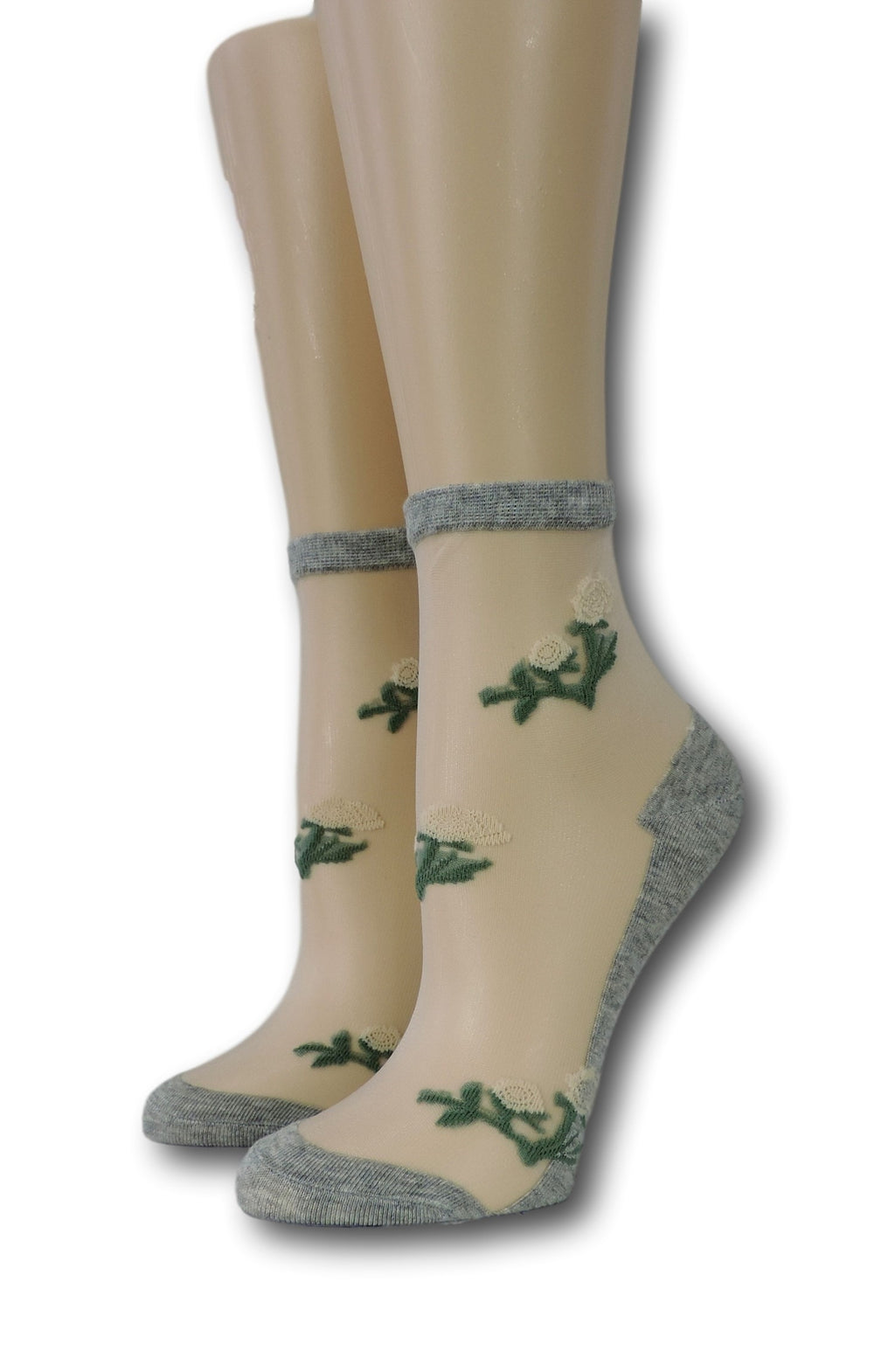 Grey Floret Sheer Socks