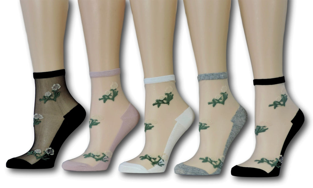Floral Sheer Socks (Pack of 5 Pairs)