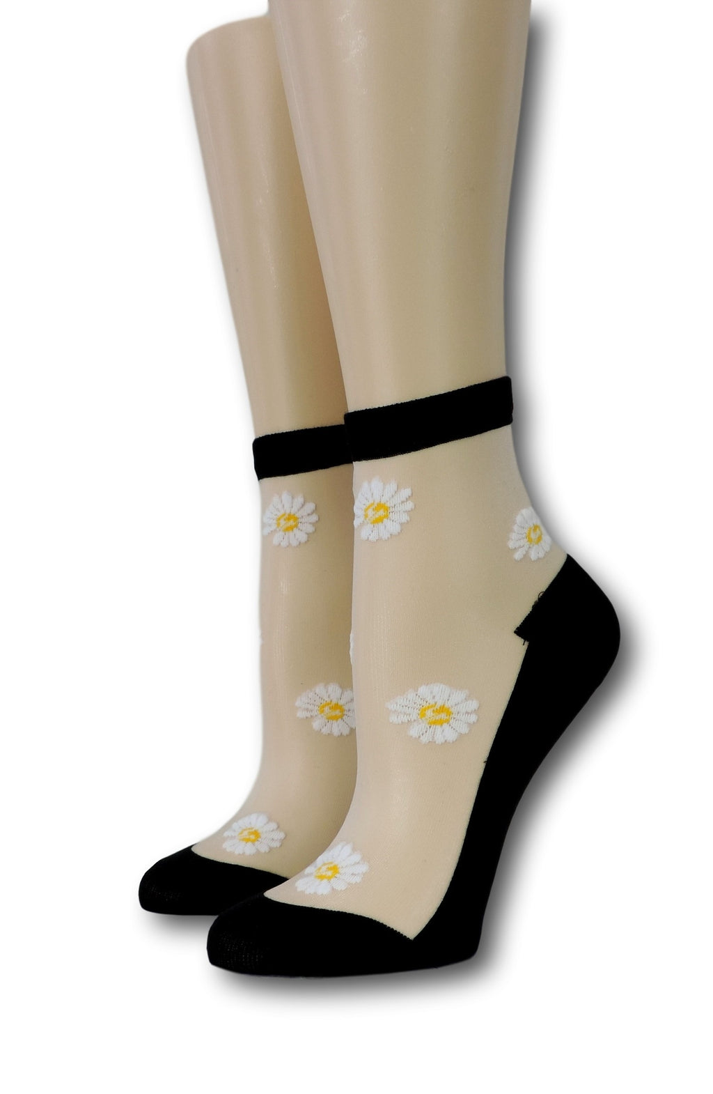White Sunflower Black Sheer Socks