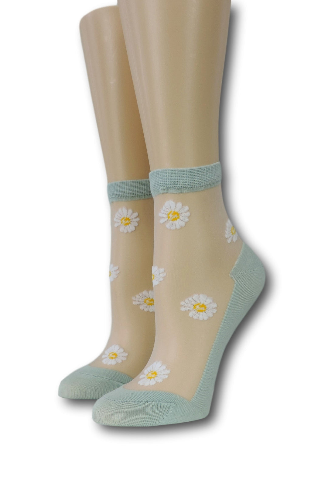 White Sunflower Green Sheer Socks