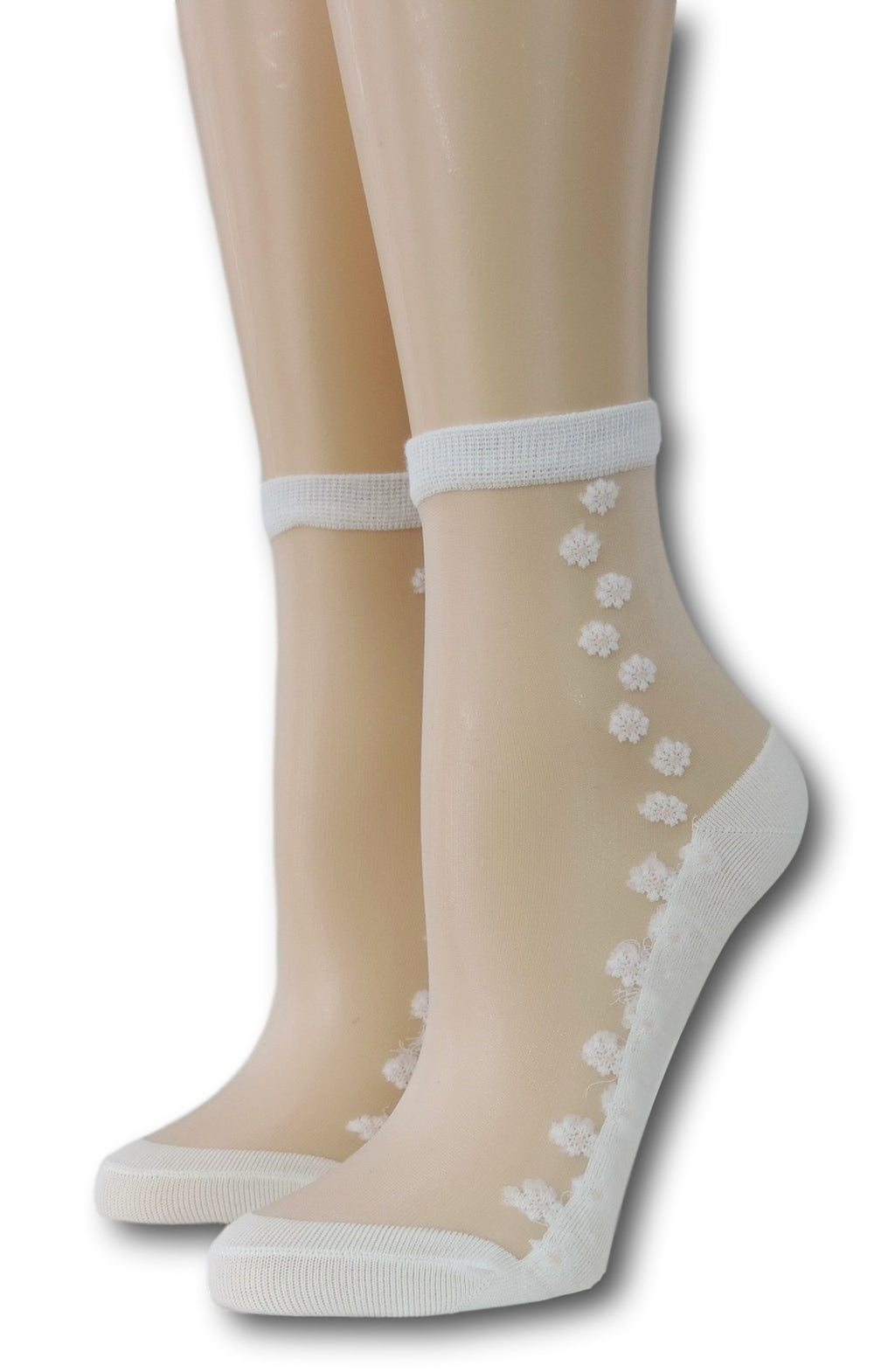 White Seamless Floral Sheer Socks