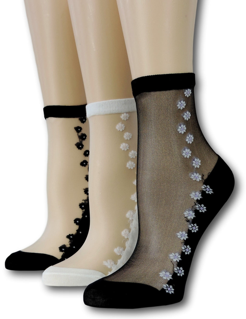 Seamless Floral Sheer Socks (Pack of 3 Pairs)