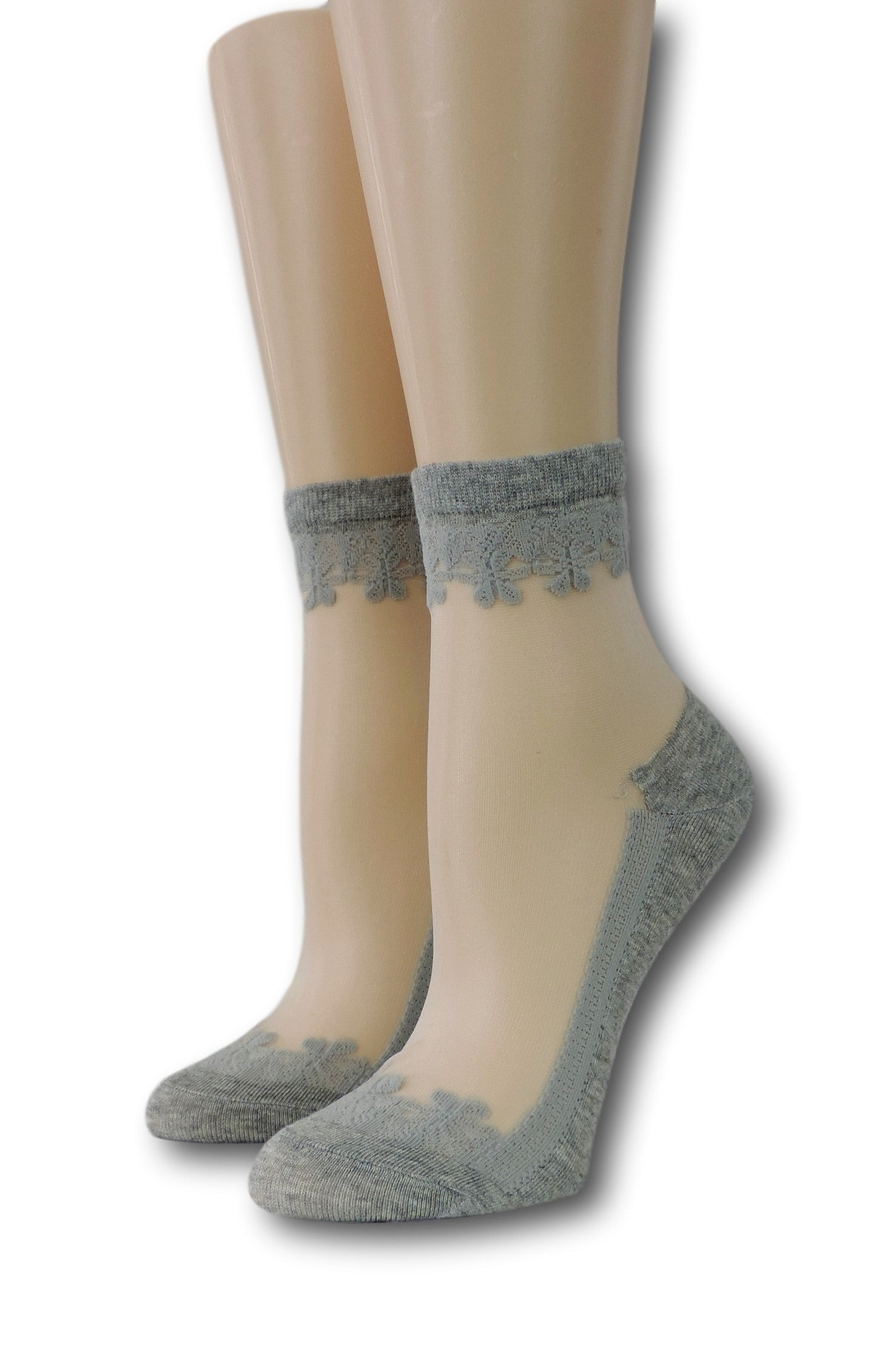 Grey Elegant Sheer Socks