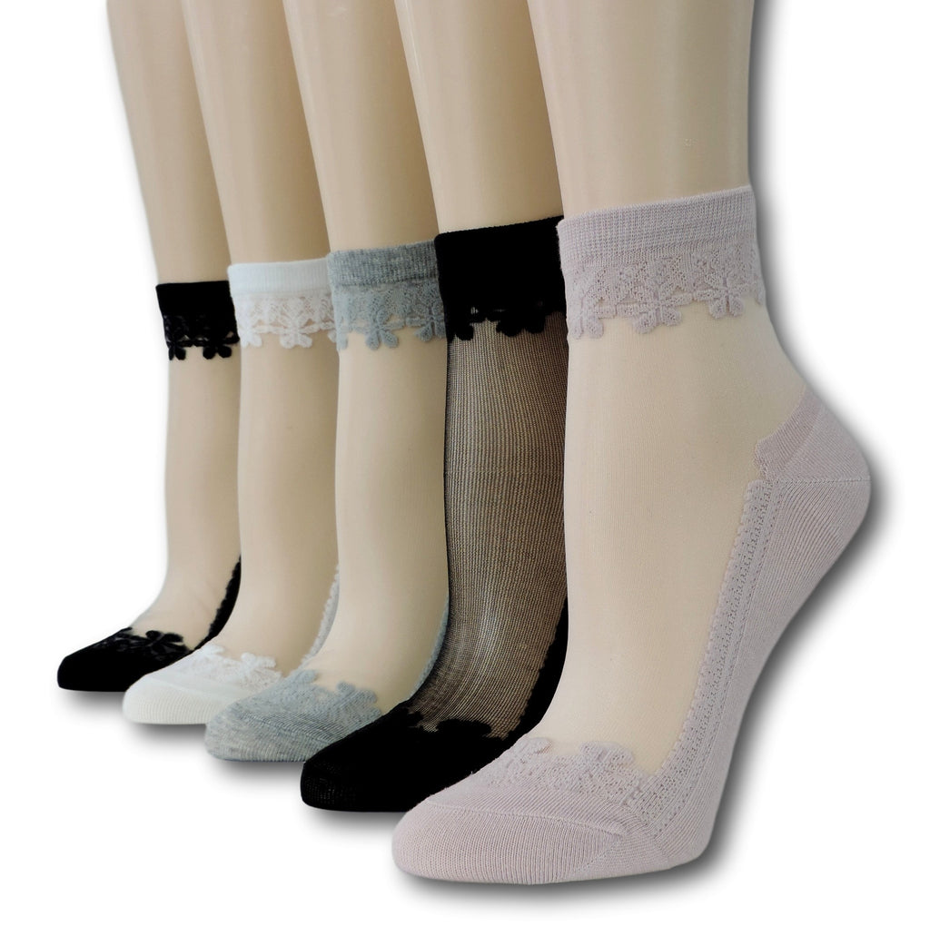 Fancy Sheer Socks (Pack of 5 Pairs)