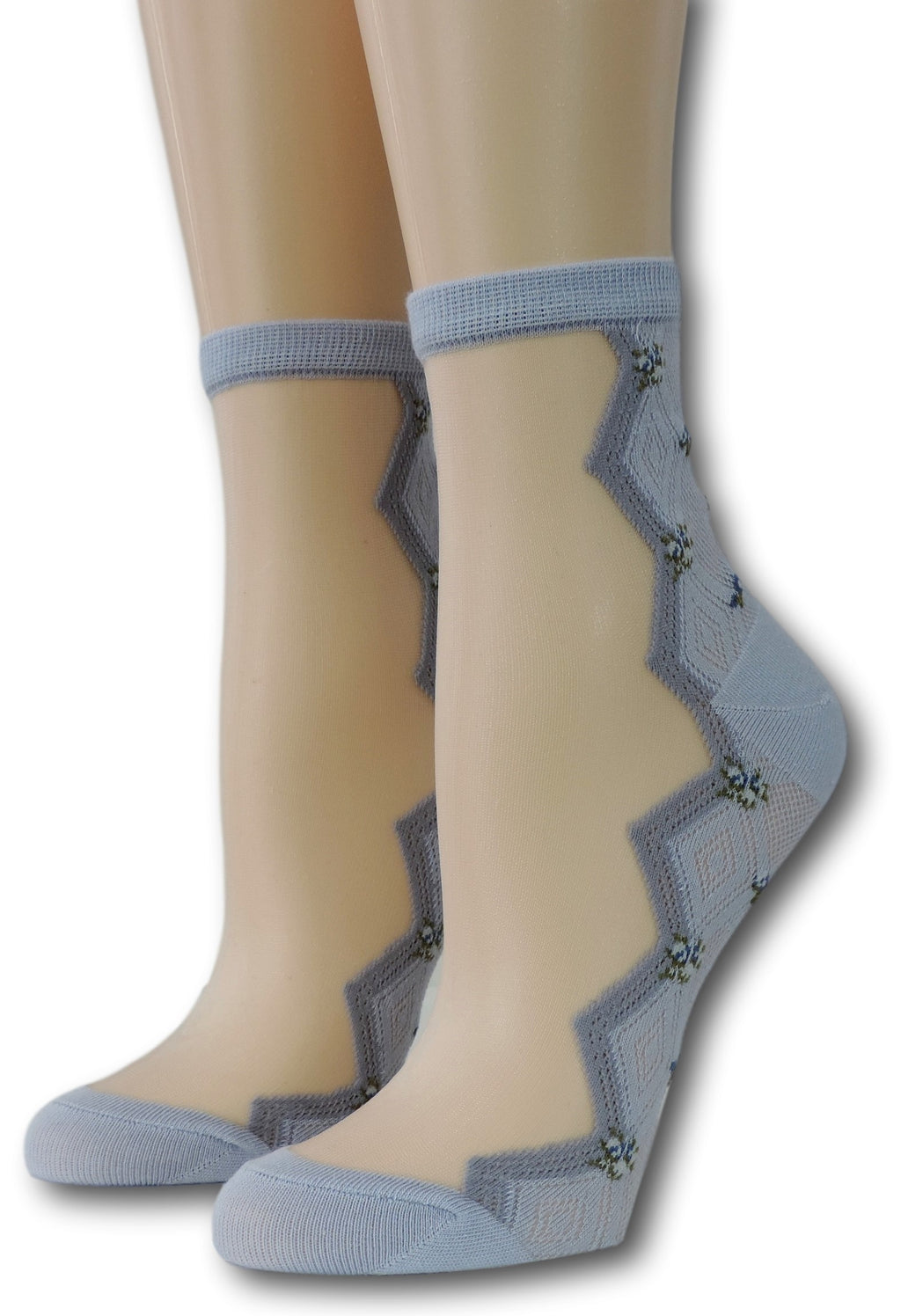 Steel Blue Zig Zag Sheer Socks