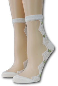 White Zig Zag Sheer Socks