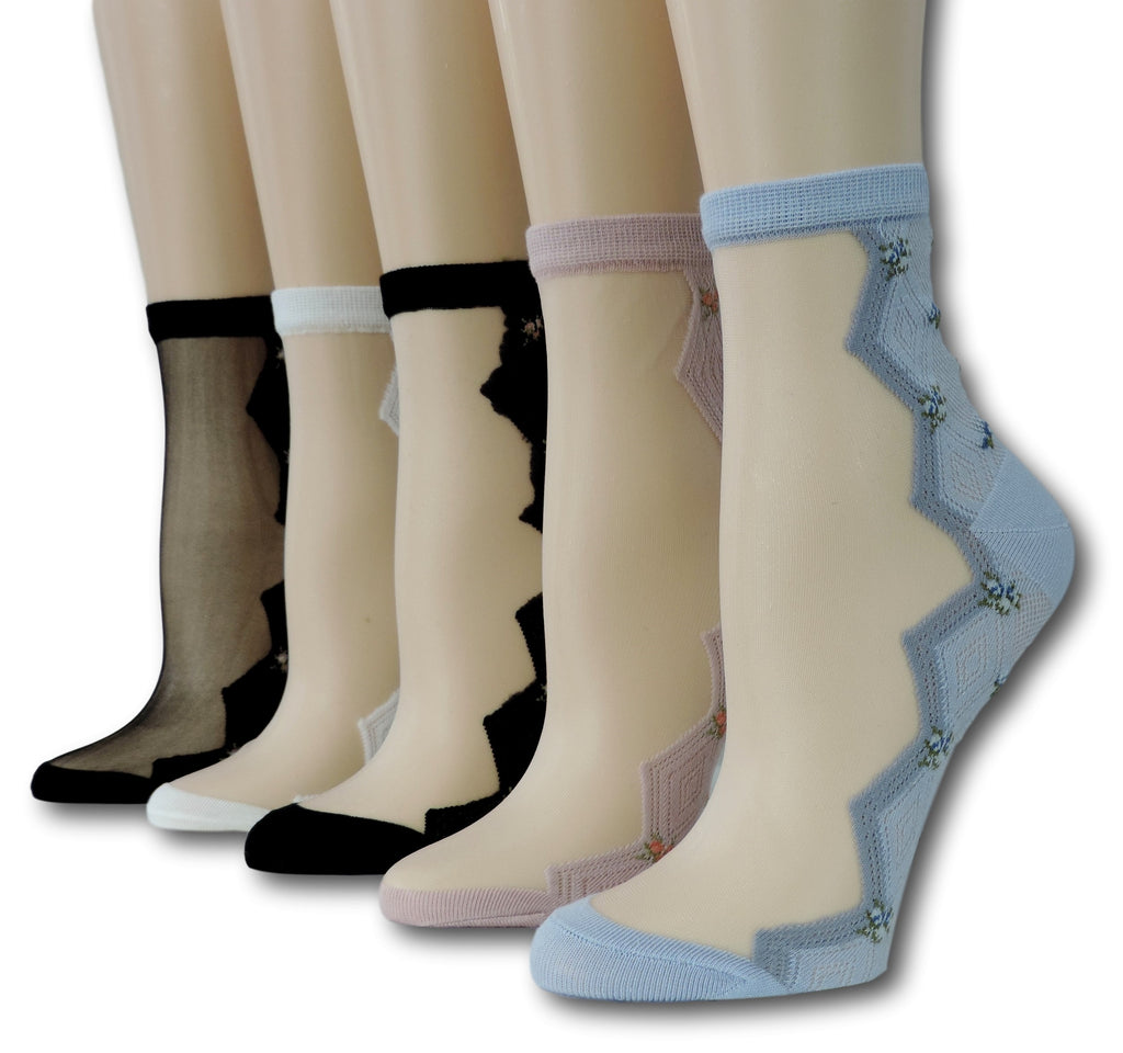 Zig Zag Sheer Socks (Pack of 5 Pairs)