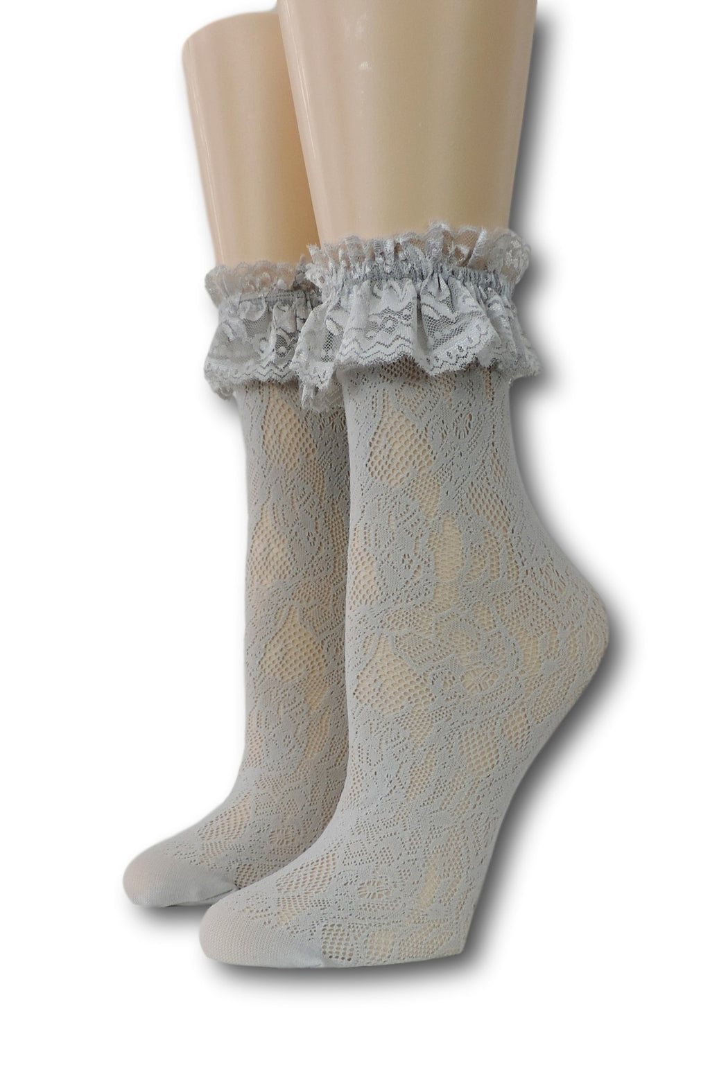 Grey Ruffle Sheer Socks