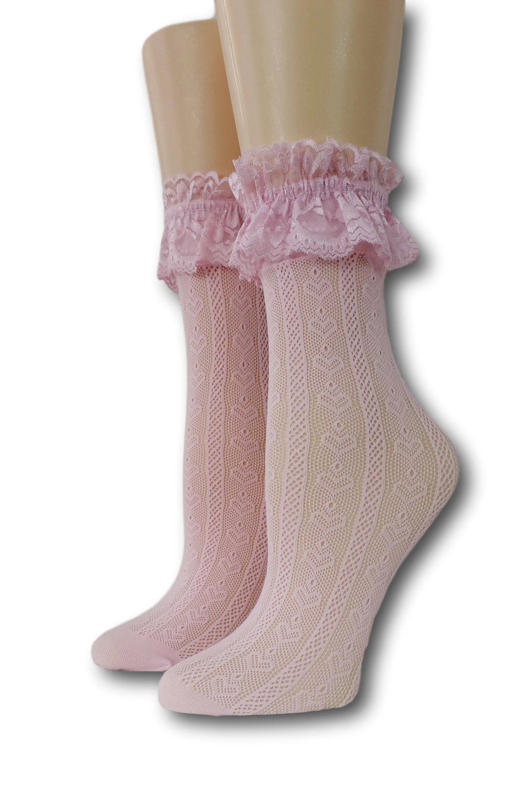 Pink Hearts Ruffle Sheer Socks