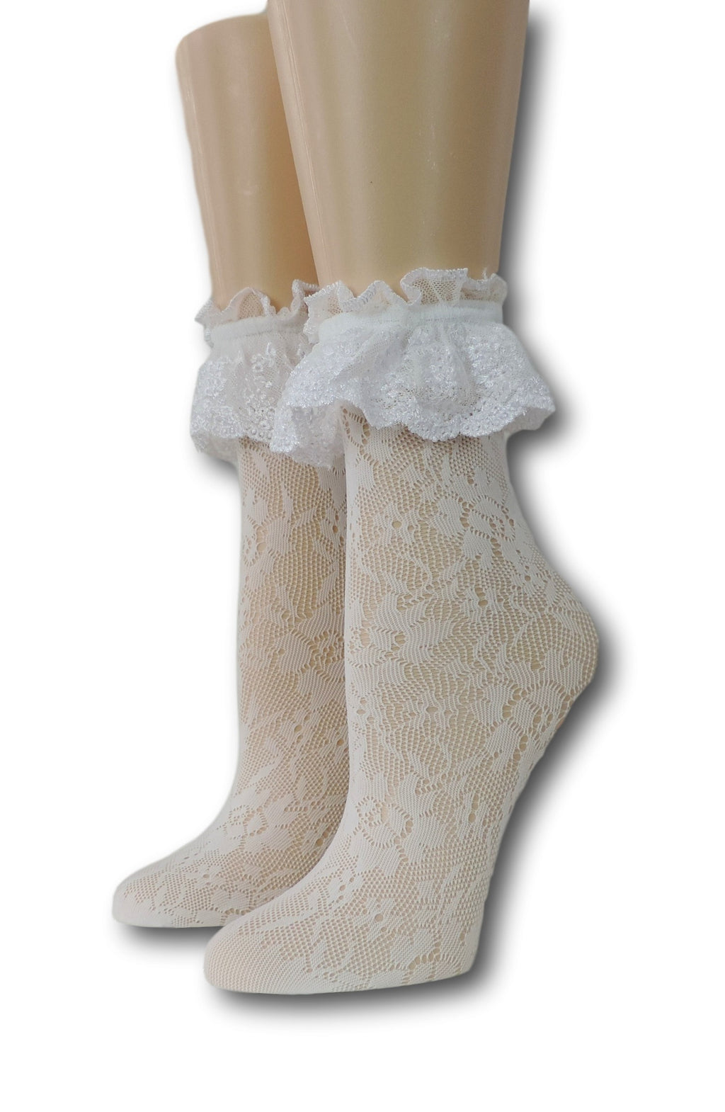 White Floral Ruffle Sheer Socks