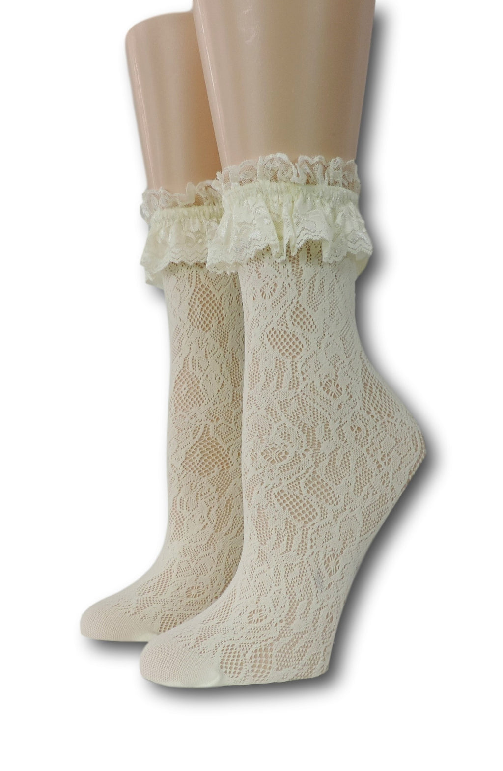 Yellow Floral Ruffle Sheer Socks