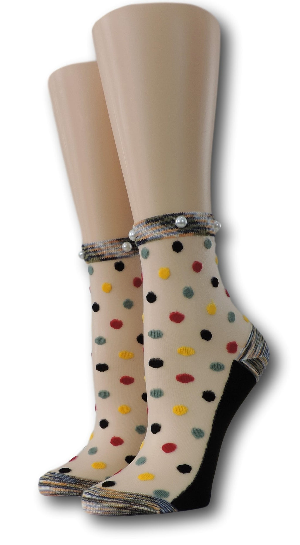 Multi Dotted Sheer Socks with beads