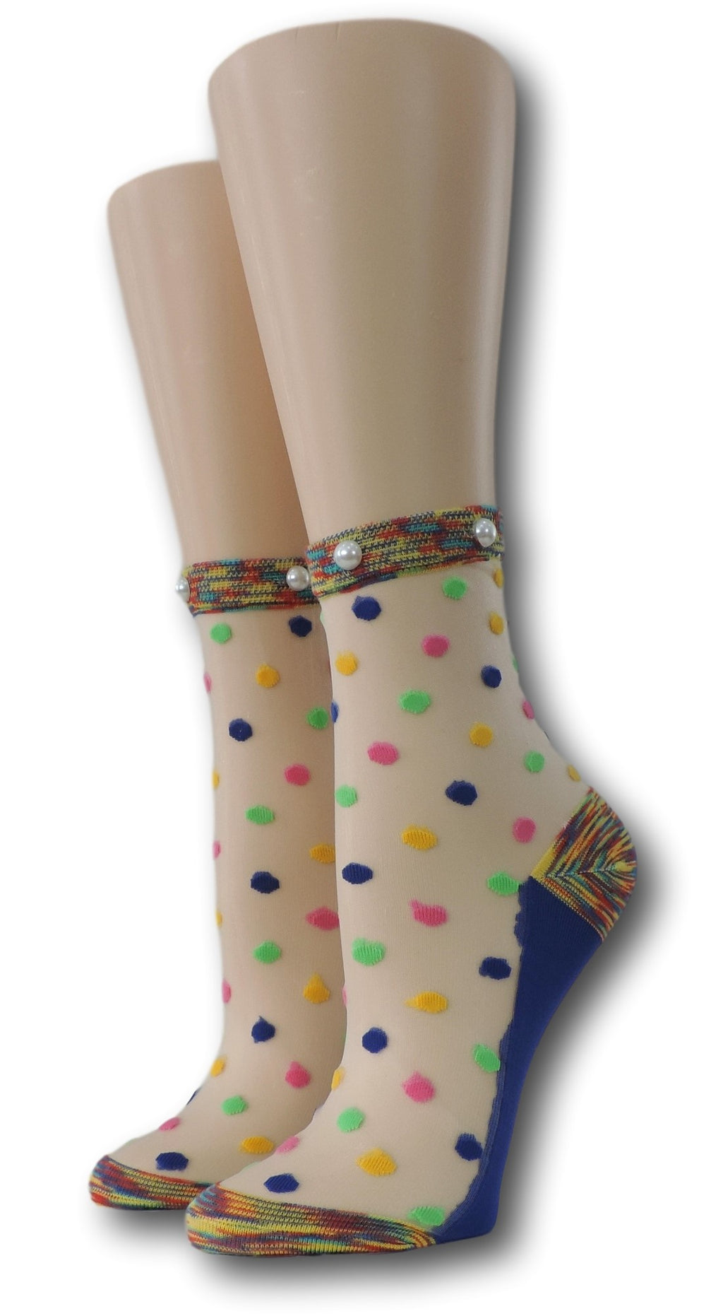 Combo Polka Sheer Socks with beads