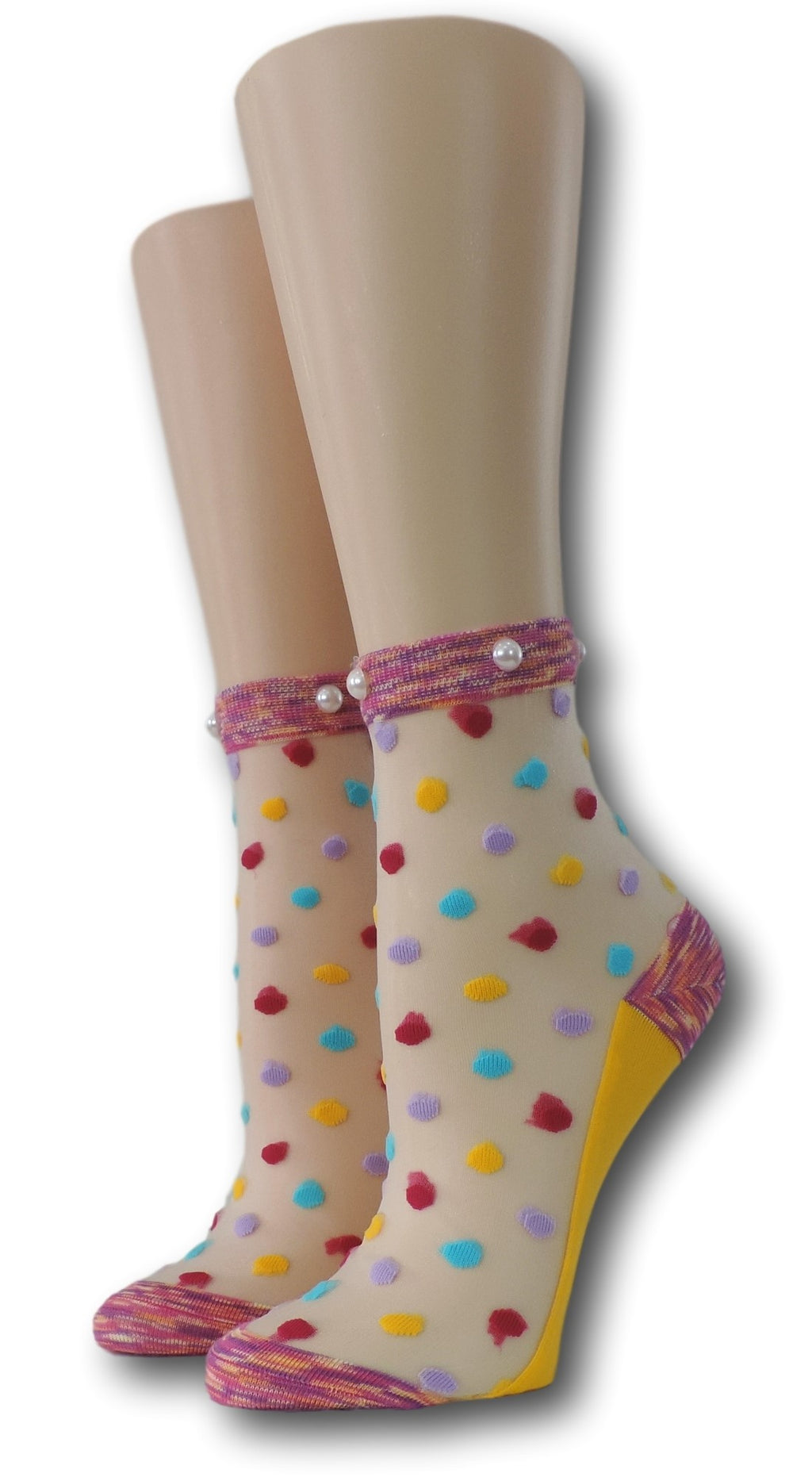 Bright Coloured Polka Sheer Socks with beads