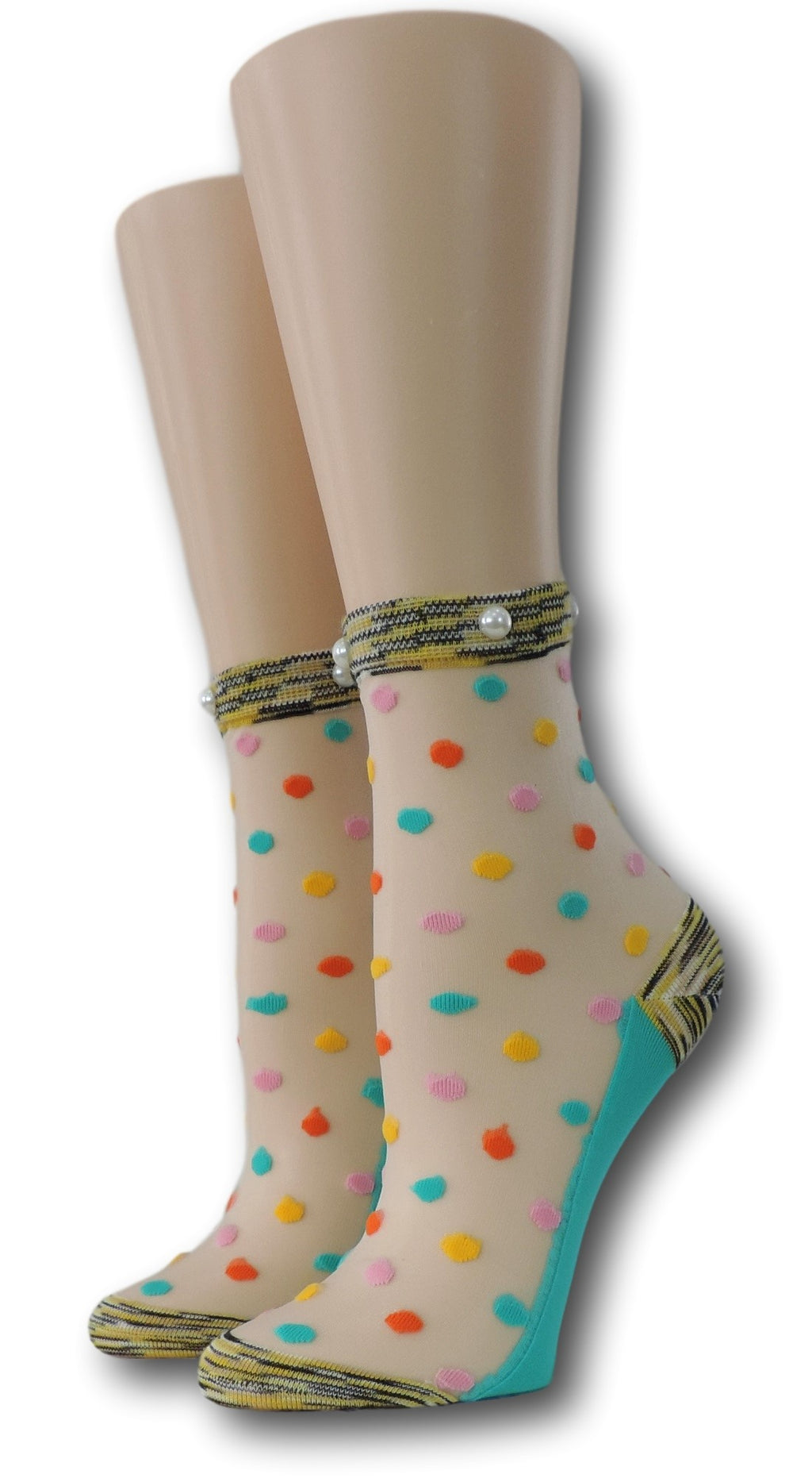 Light Coloured Polka Sheer Socks with beads