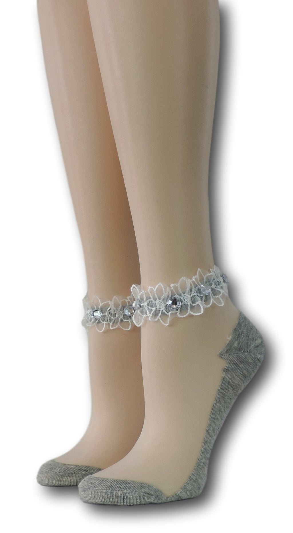 Thick Grey Ankle Sheer Socks with beads