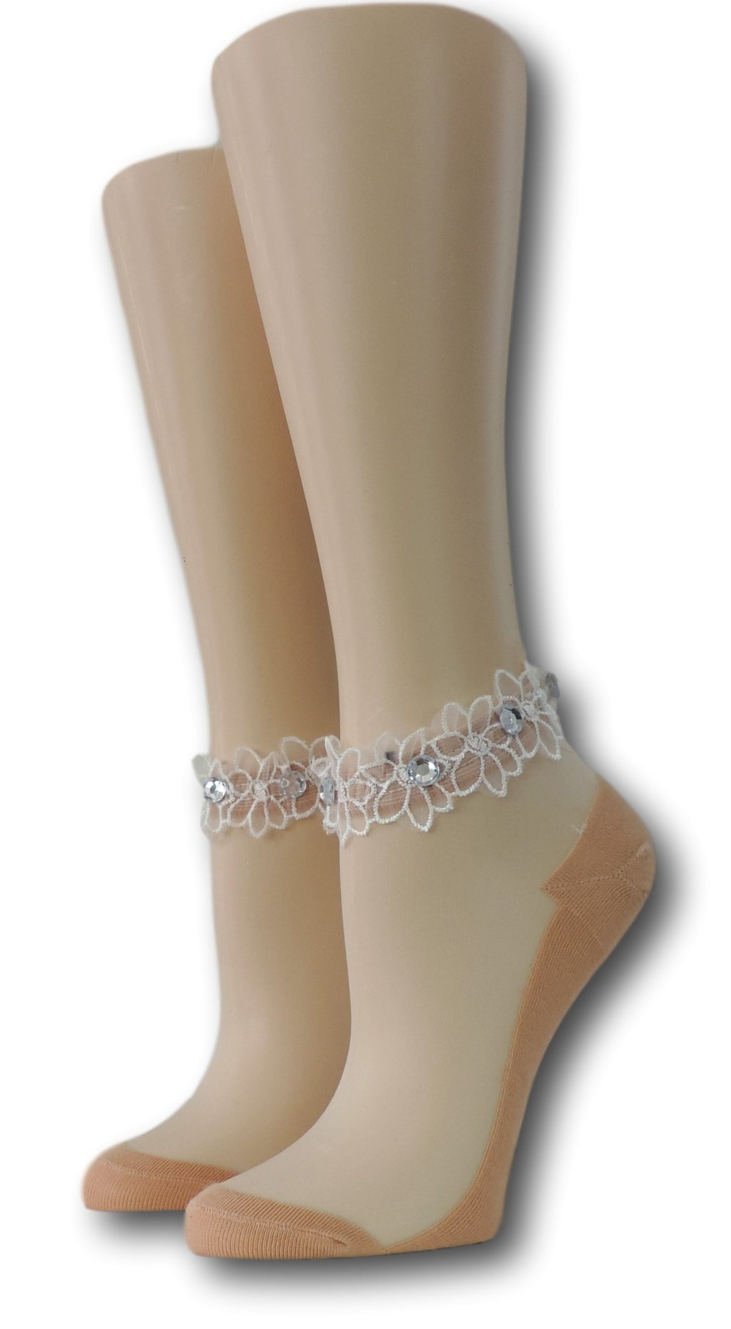 Cute Beige Ankle Sheer Socks with beads