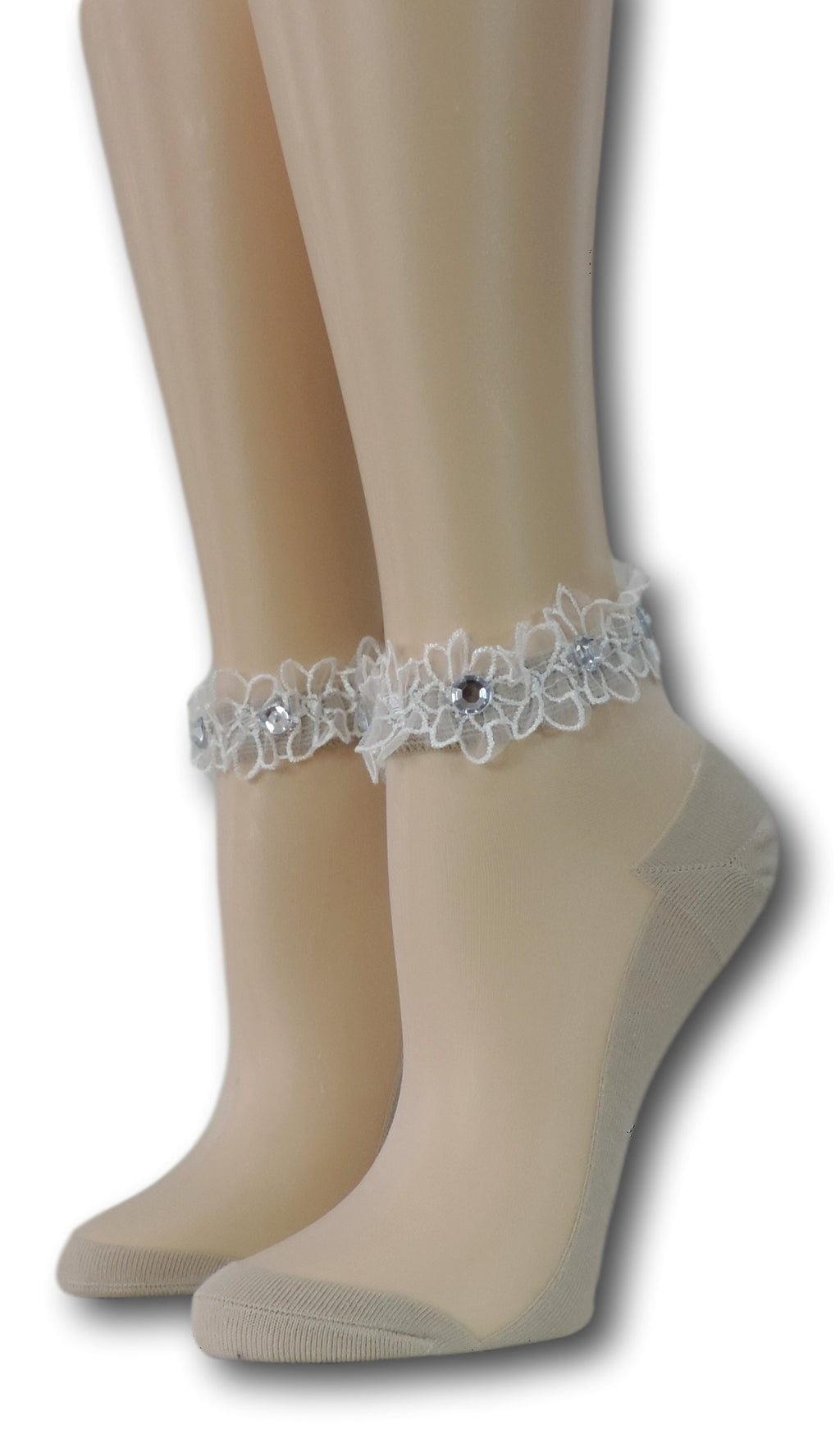 Heavy Cream Ankle Sheer Socks with beads