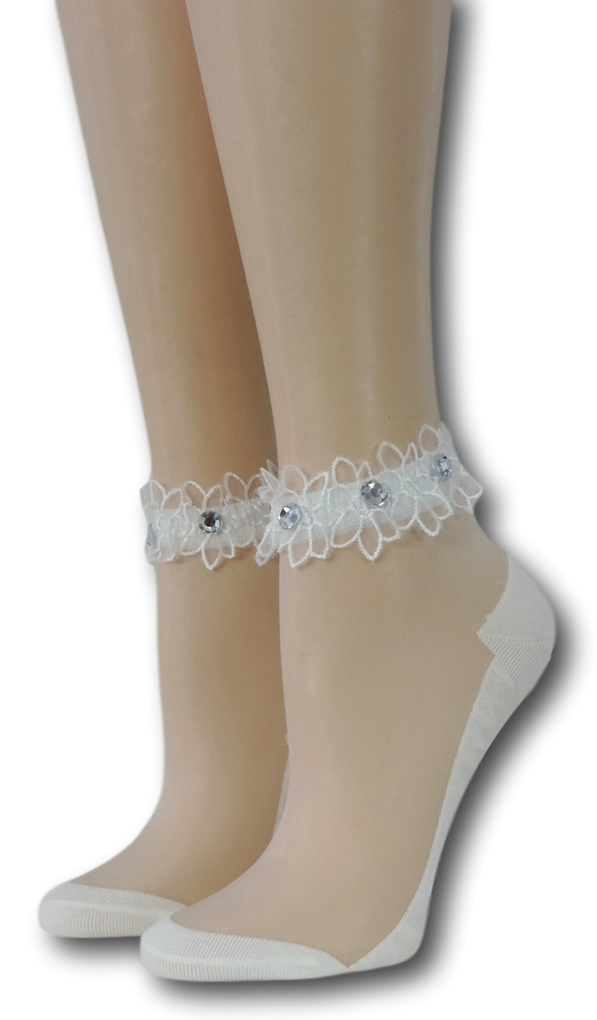 Bright White Ankle Sheer Socks with beads