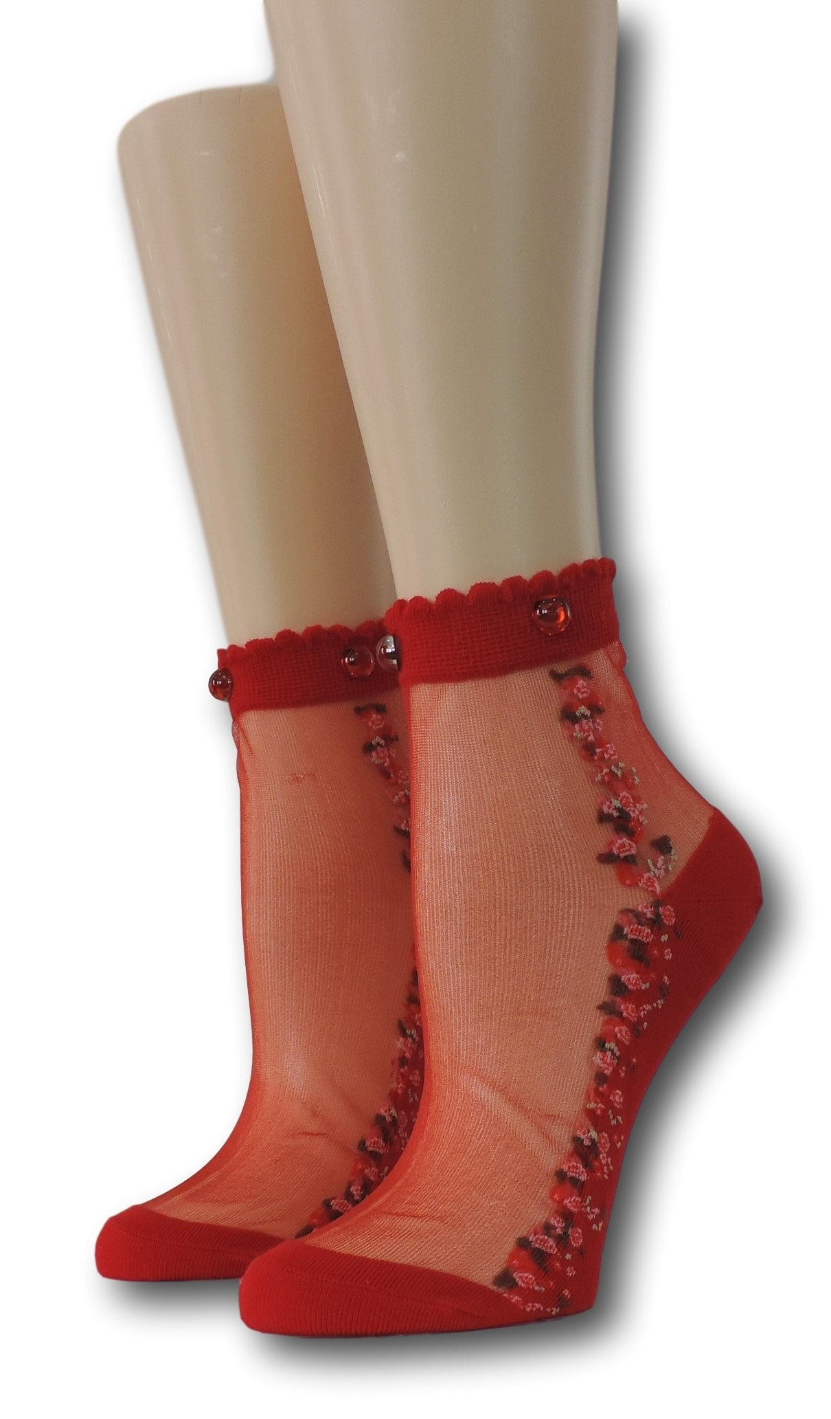 Red Blooming Sheer Socks with beads