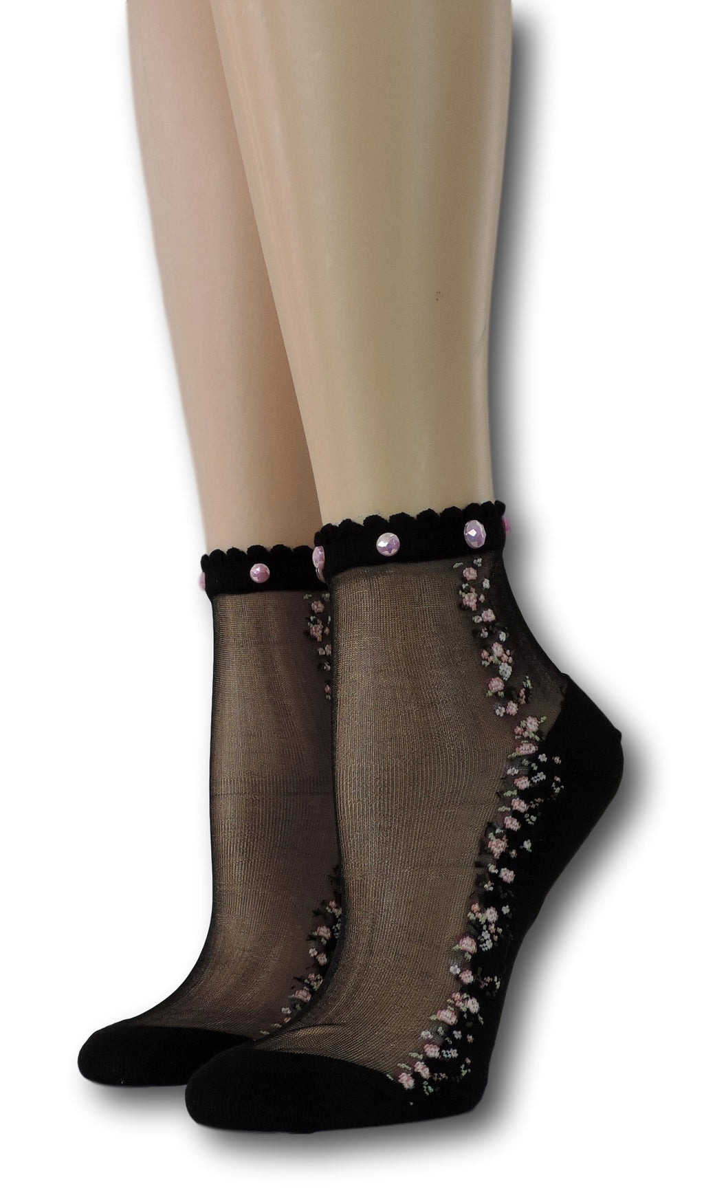 Ivory Blooming Sheer Socks with beads