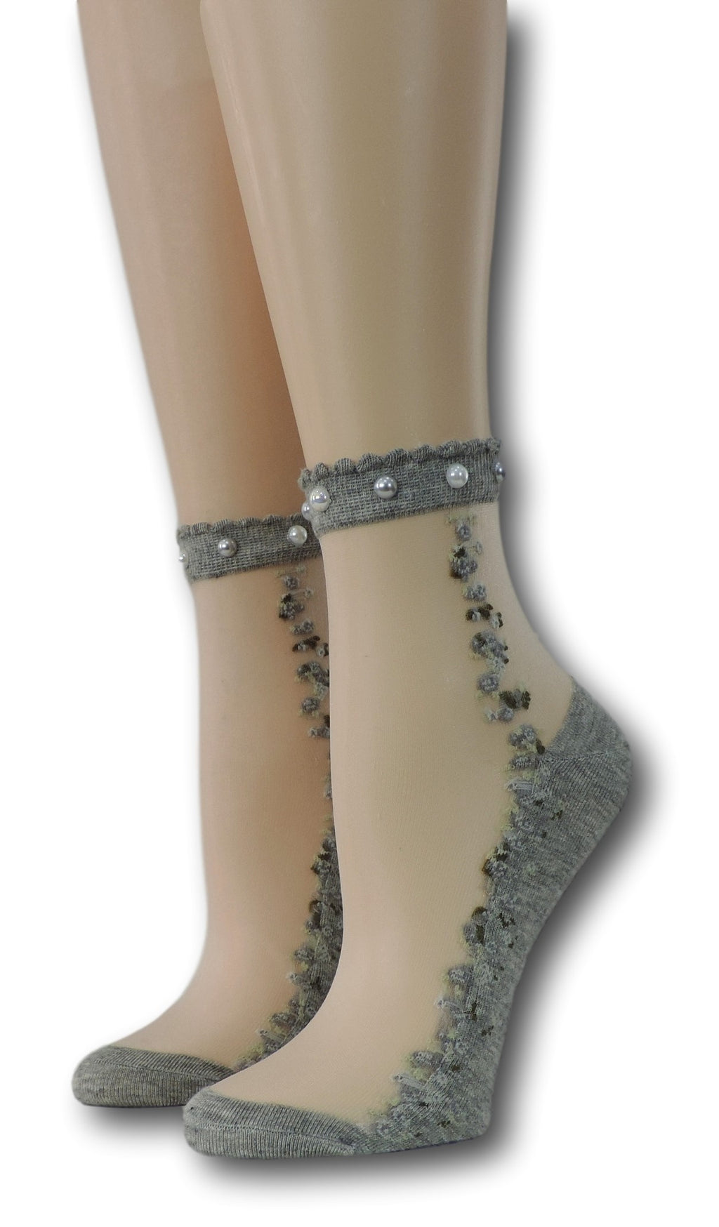 Grey Blooming Sheer Socks with beads