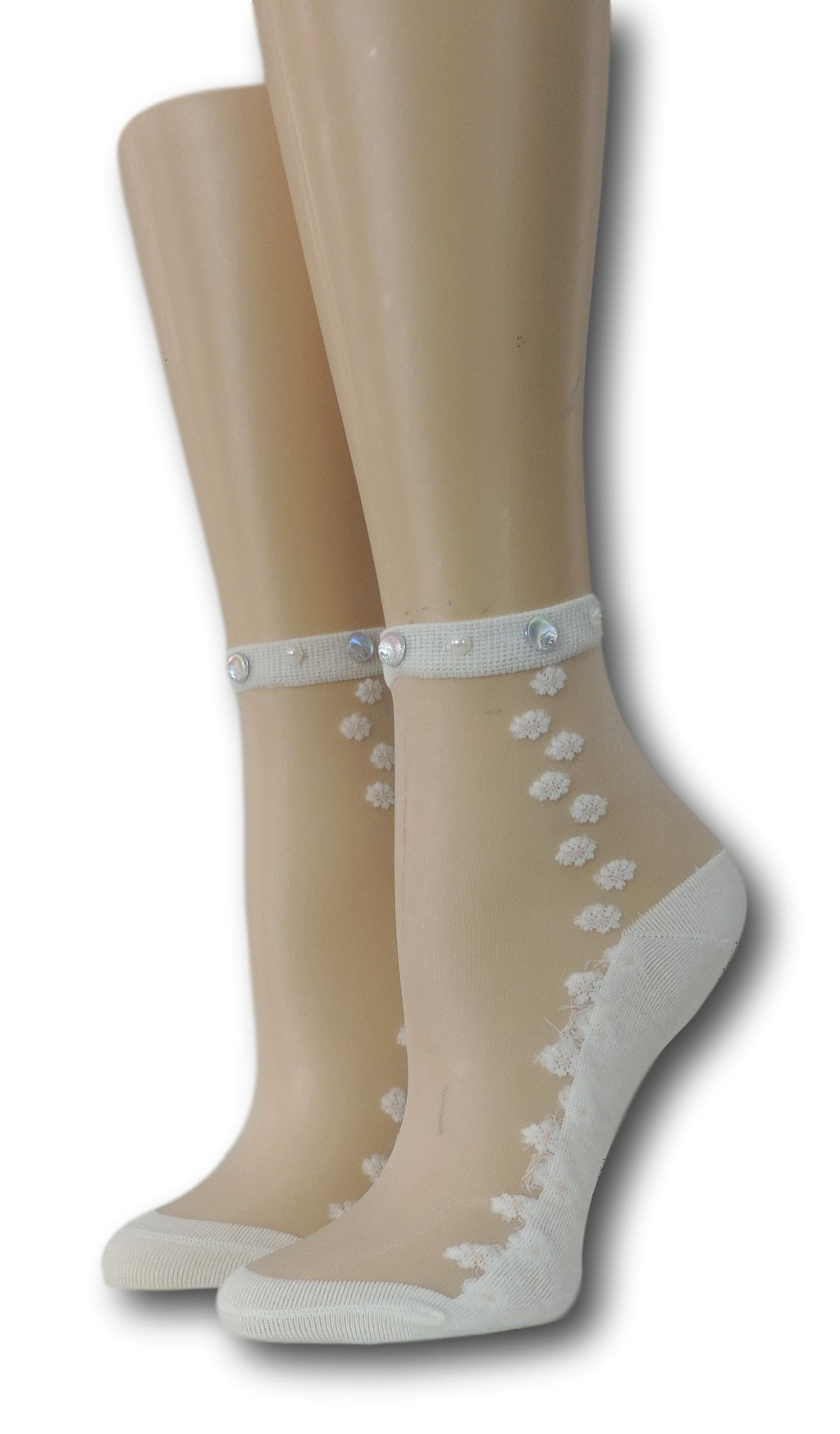 White Seamless Floral Sheer Socks with beads