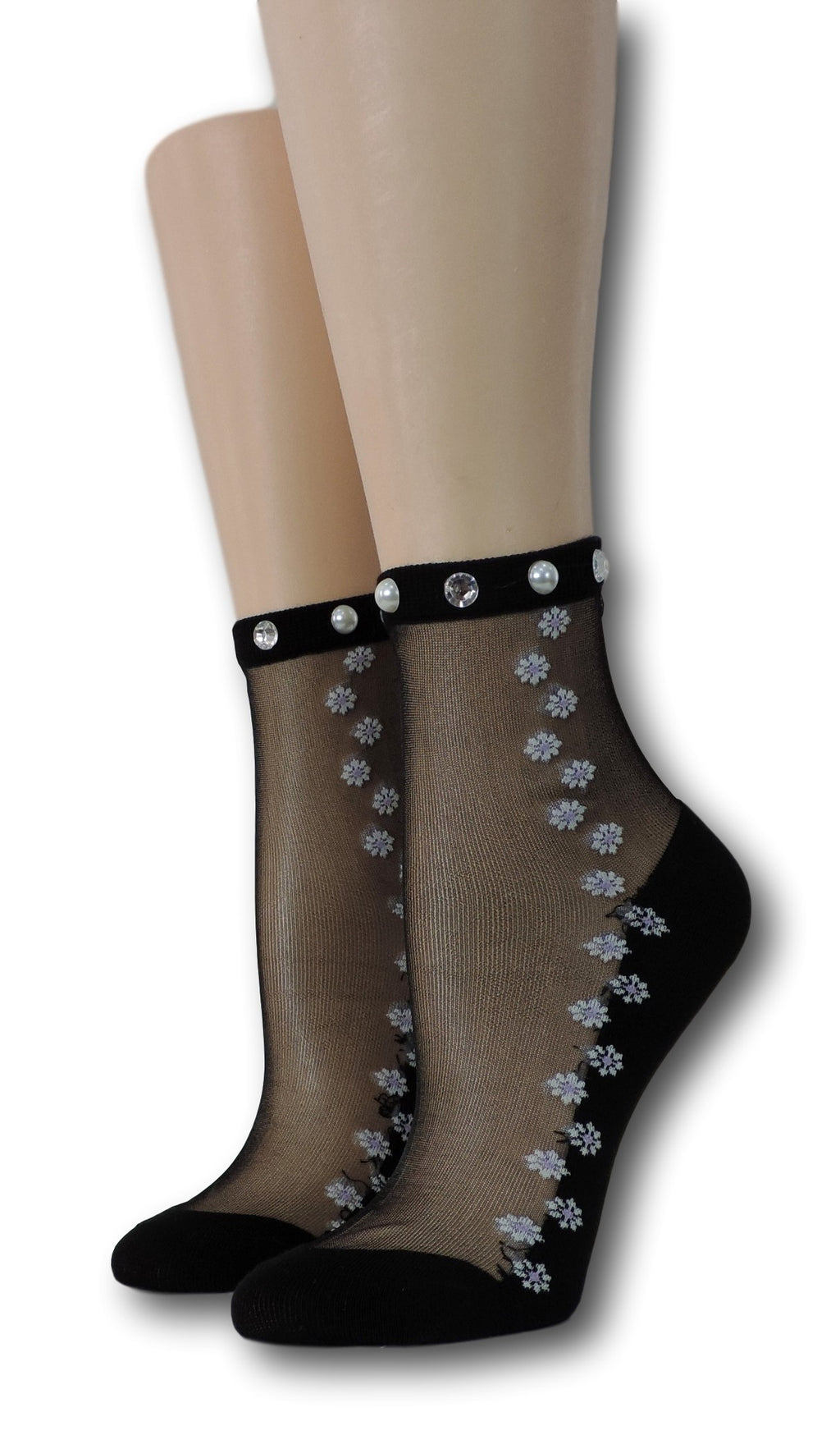 Pearl Seamless Floral Sheer Socks with beads