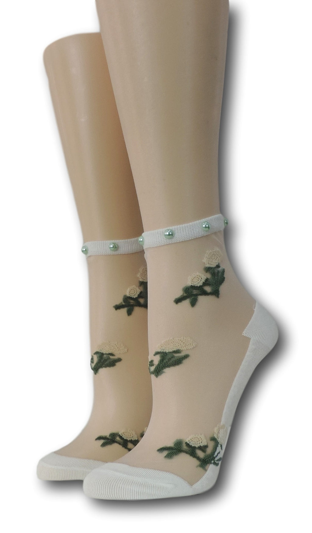White Floret Sheer Socks with beads