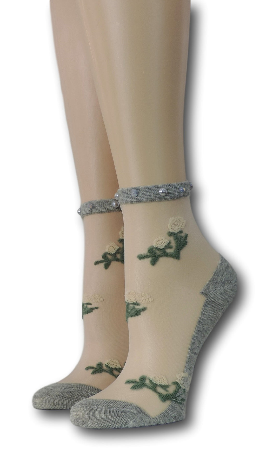Grey Floret Sheer Socks with beads