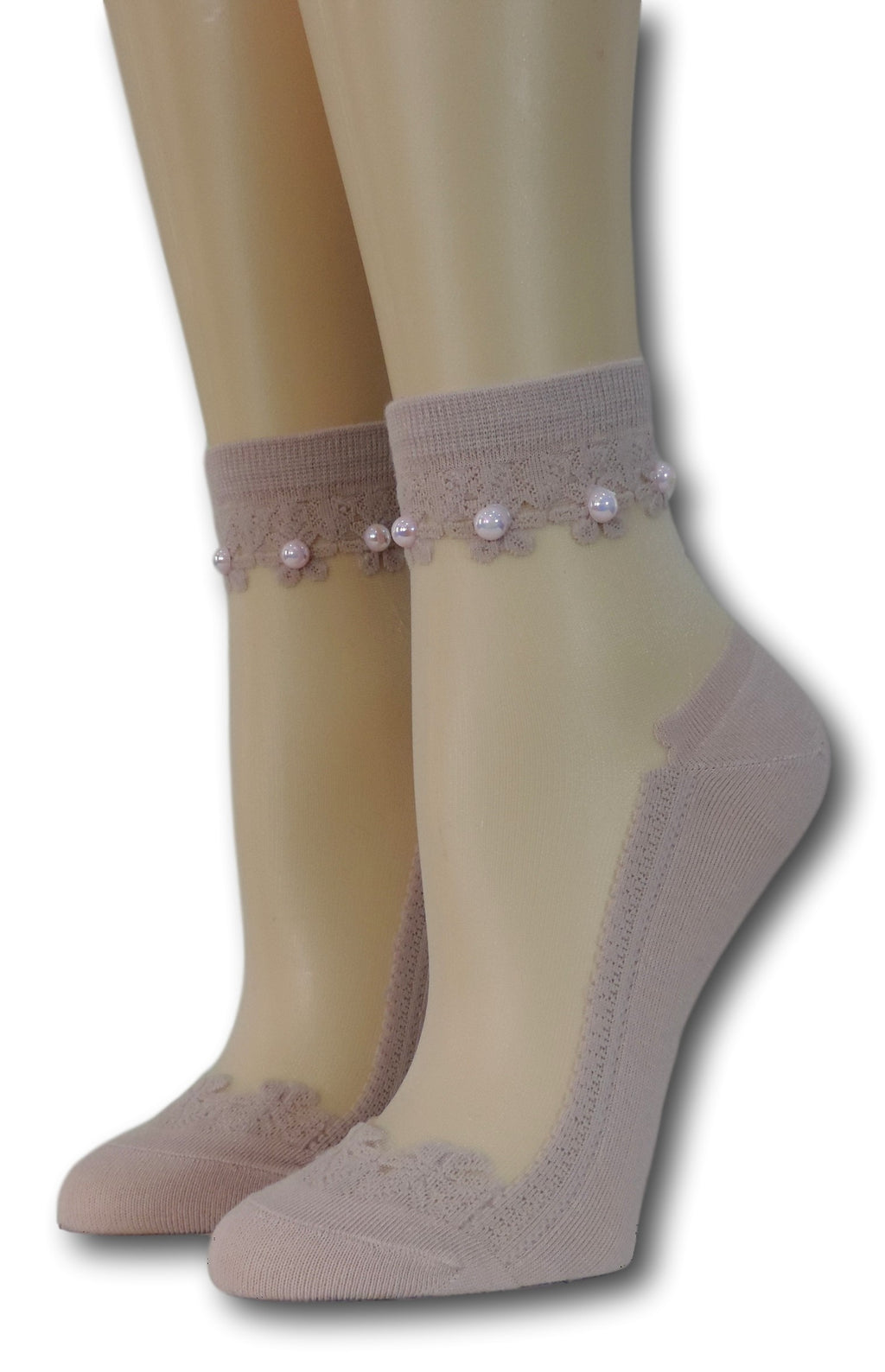 Soft Berry Elegant Sheer Socks with beads