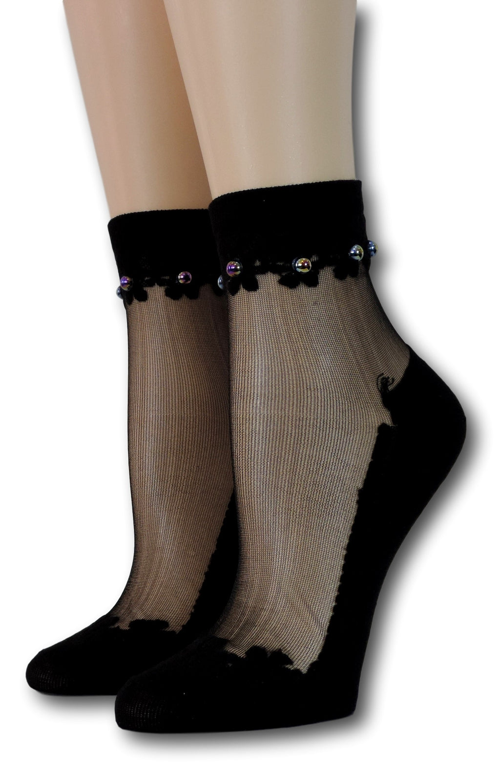Black Elegant Sheer Socks with beads
