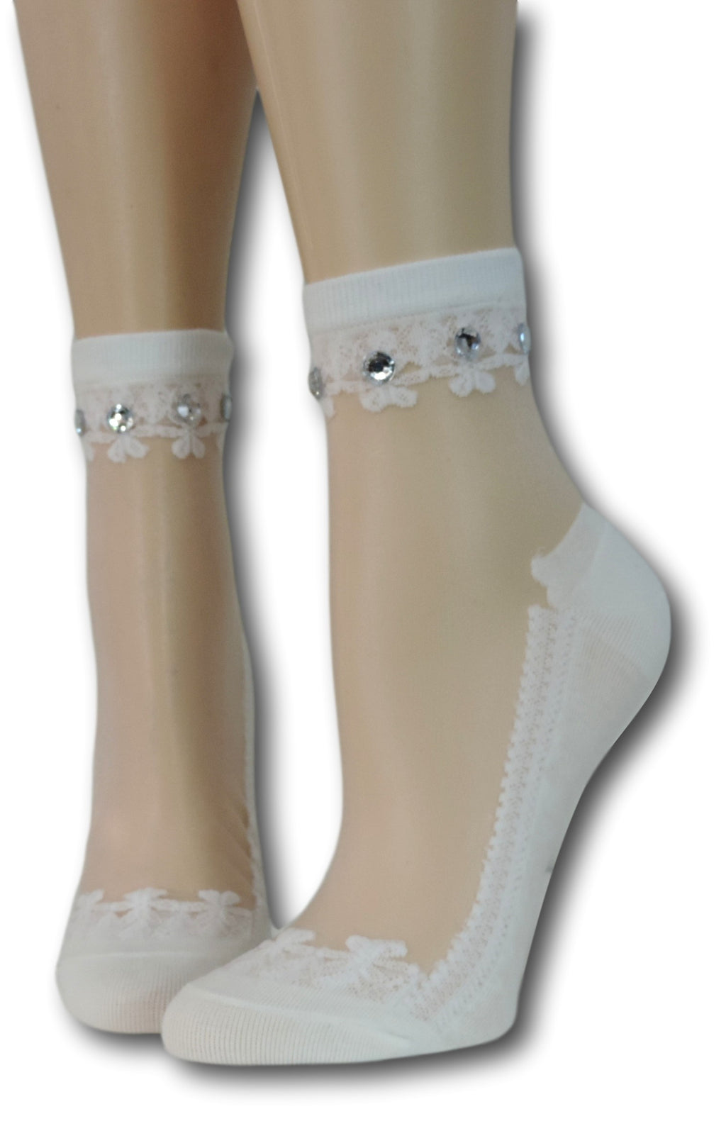 White Elegant Sheer Socks with beads