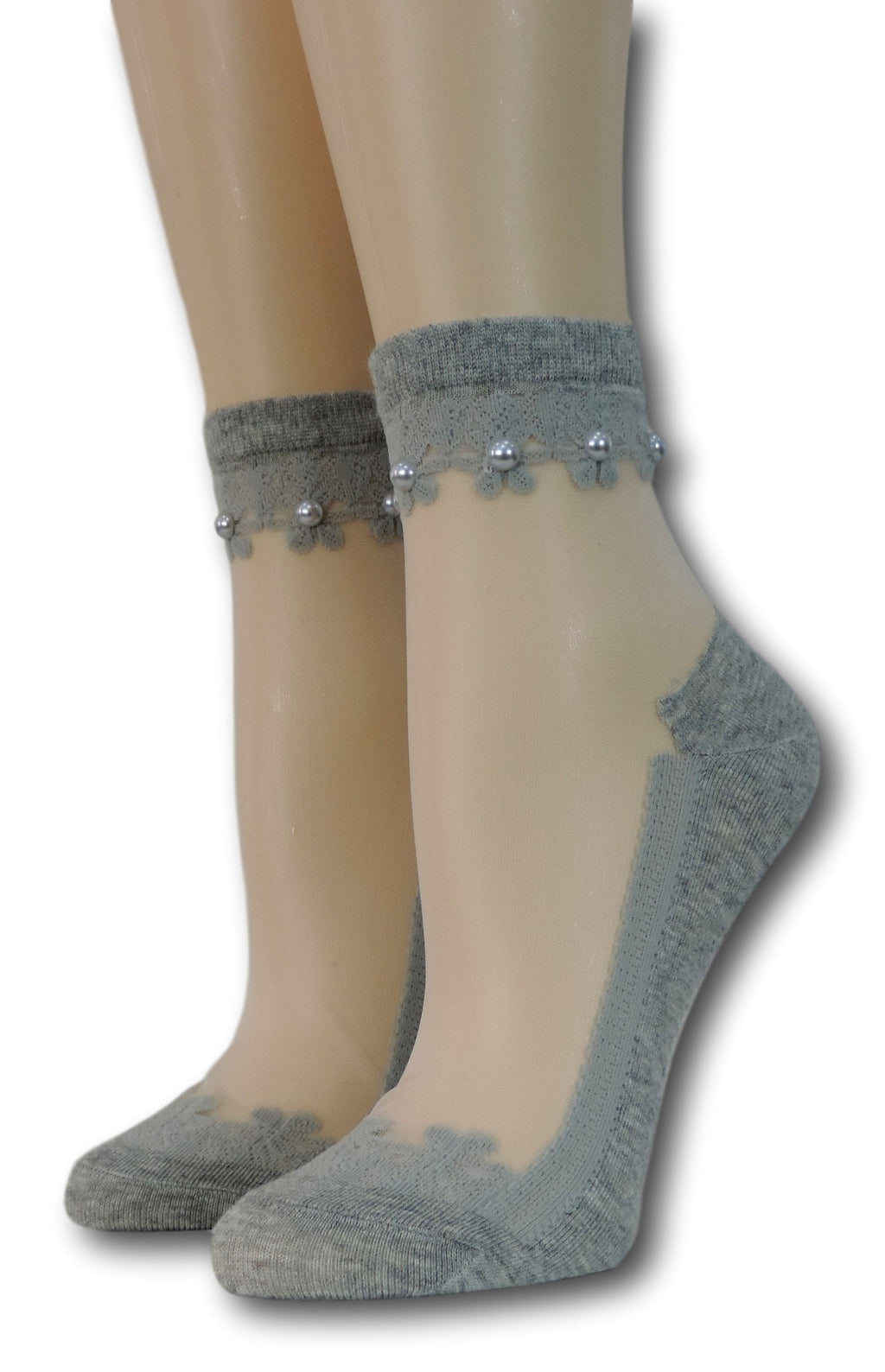 Grey Elegant Sheer Socks with beads