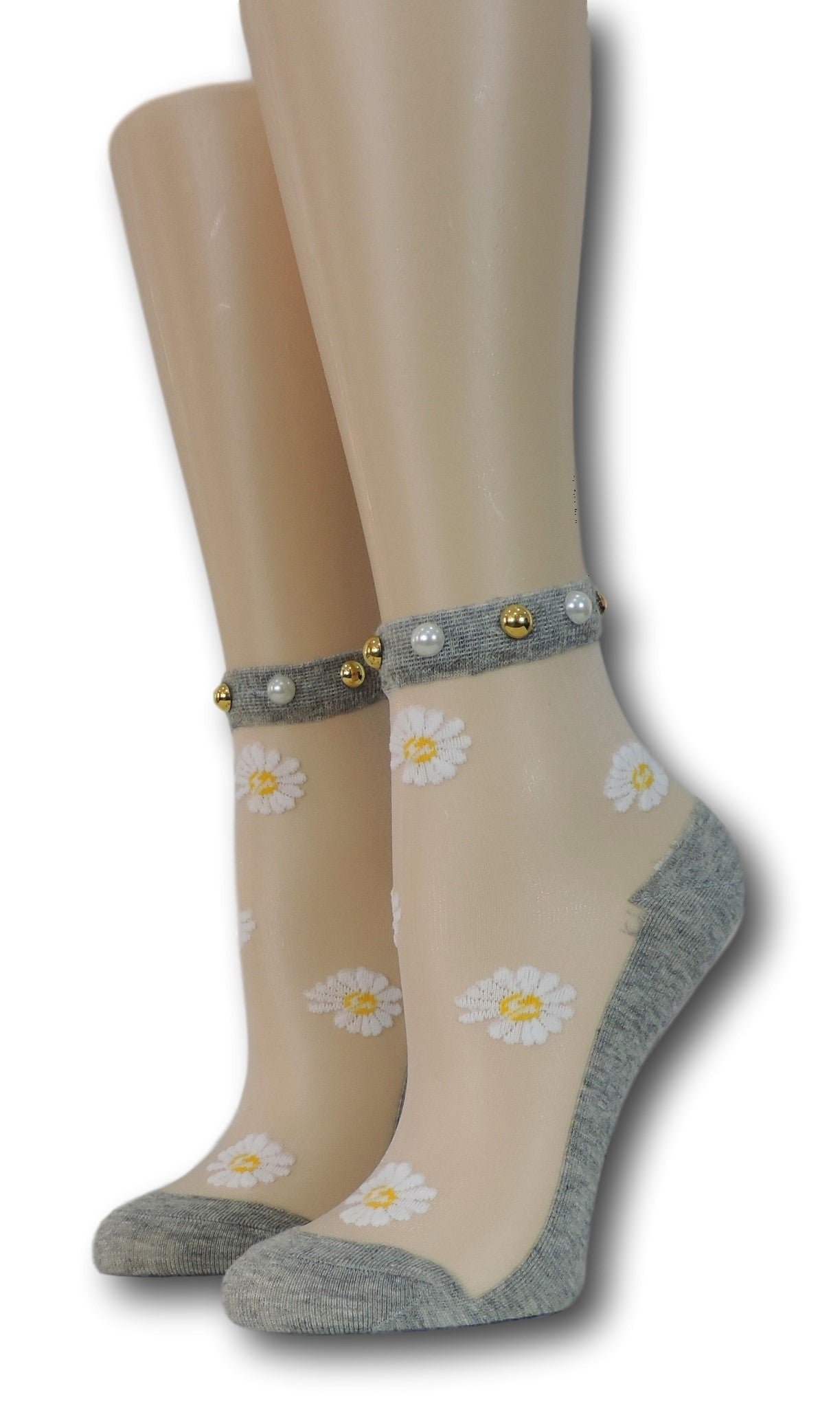 White Sunflower Grey Sheer Socks with beads