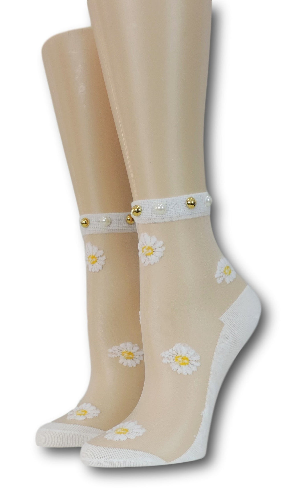 White Sunflower Pearl Sheer Socks with beads