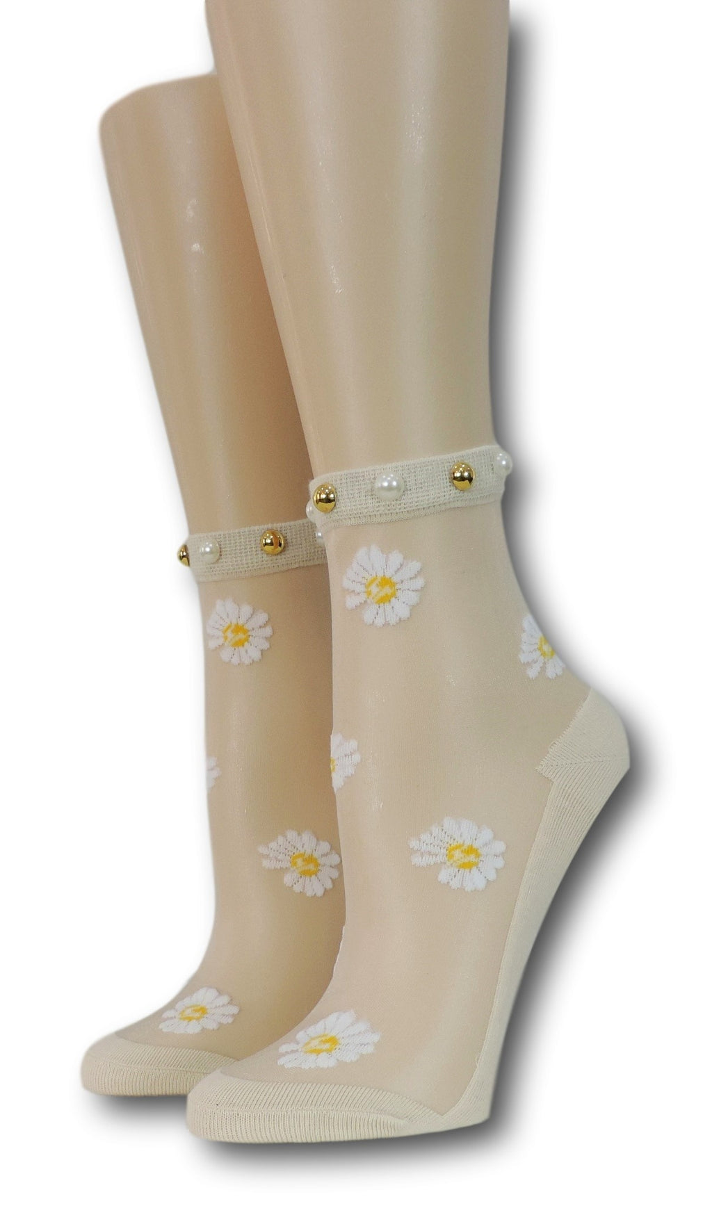 White Sunflower Beige Sheer Socks with beads
