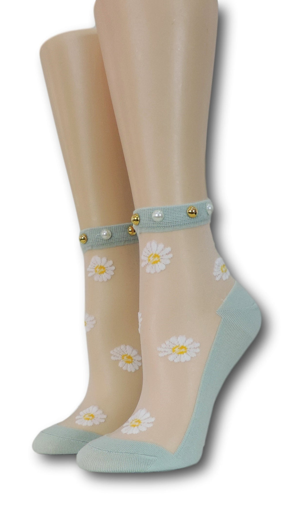 White Sunflower Green Sheer Socks with beads
