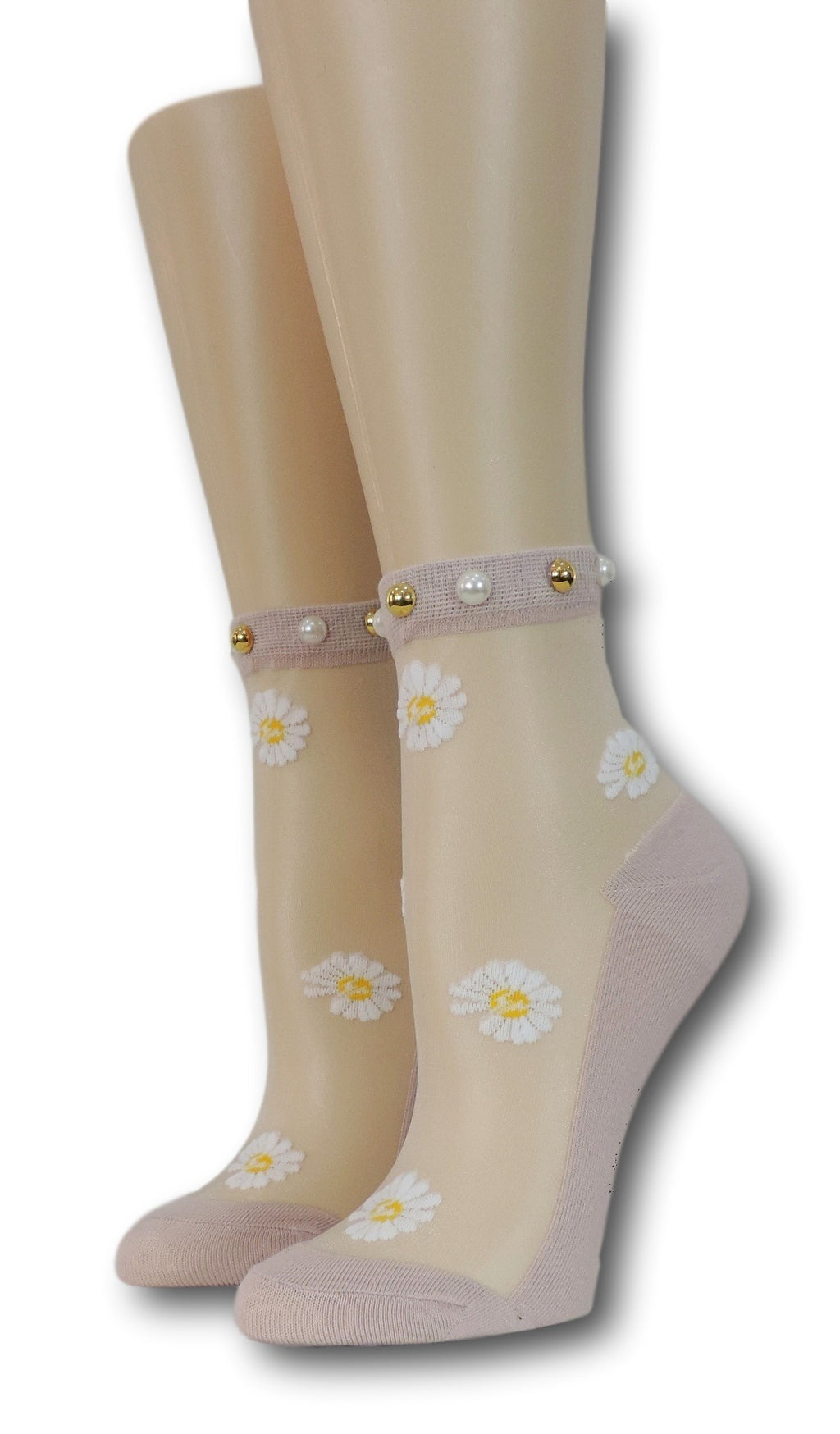 White Sunflower Pink Sheer Socks with beads