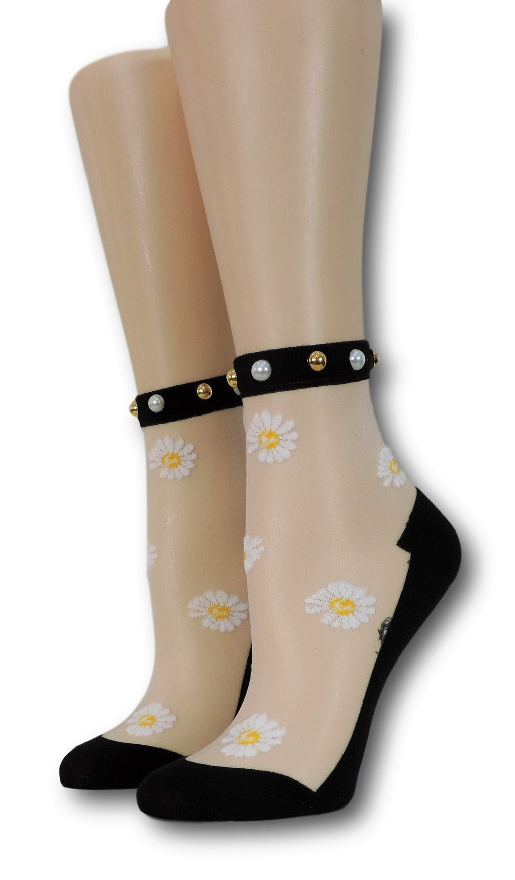 White Sunflower Black Sheer Socks with beads