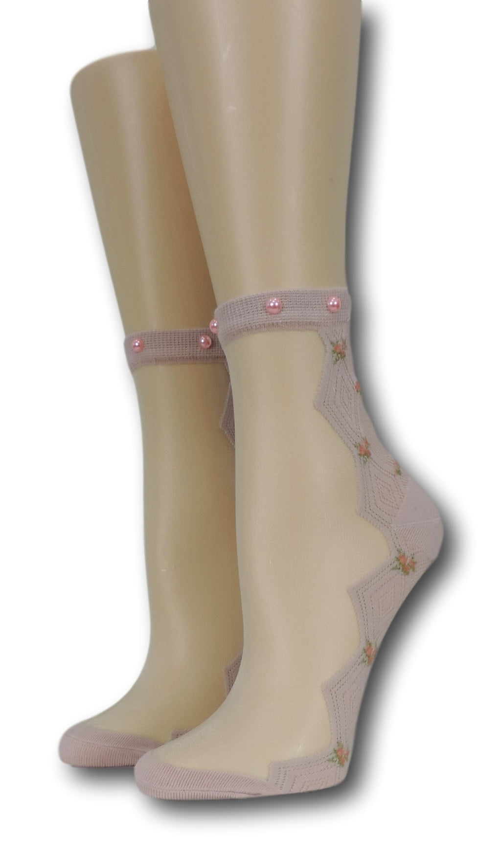 Pink Zig Zag Sheer Socks with beads