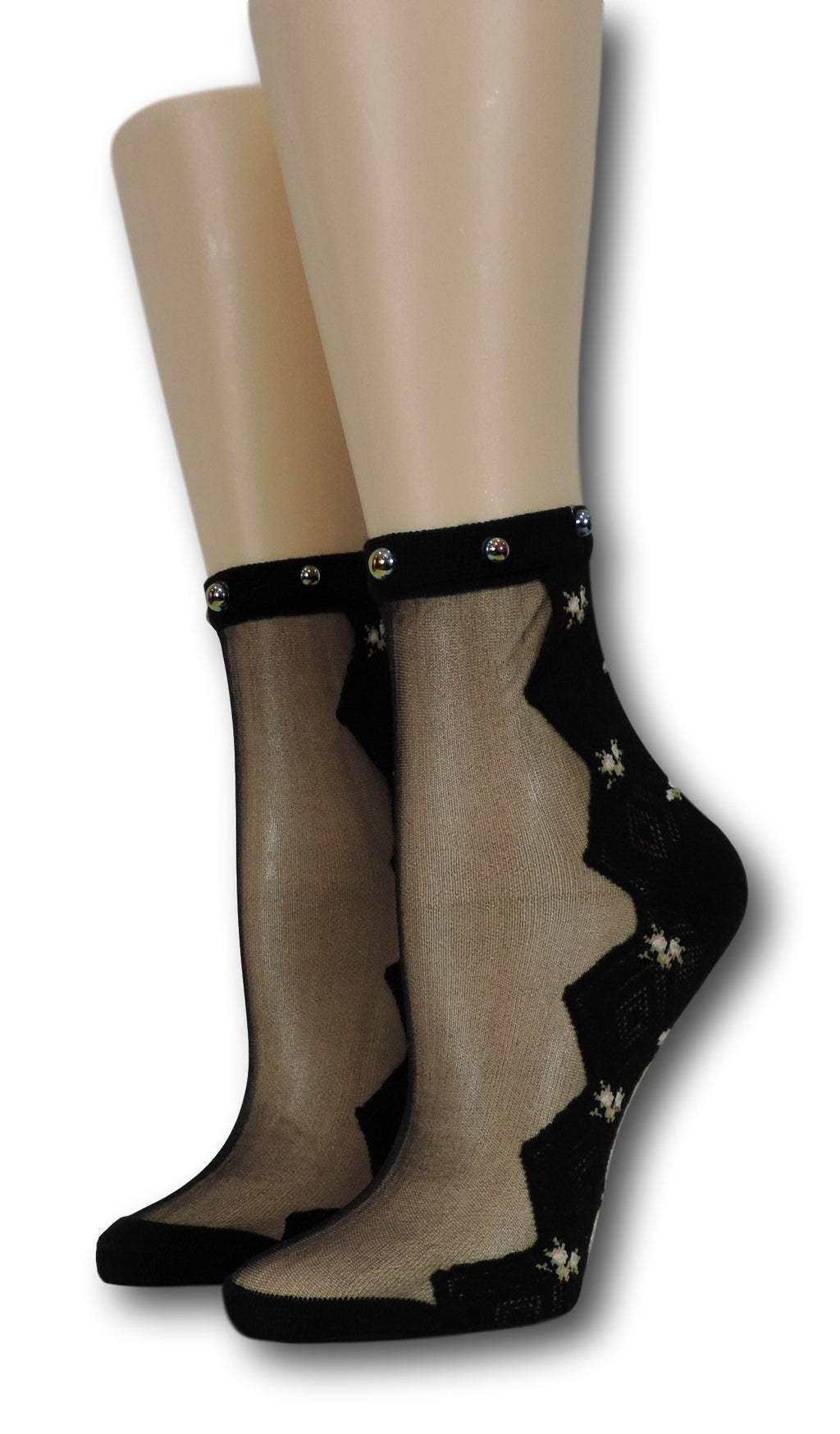 Onyx Zig Zag Sheer Socks with beads