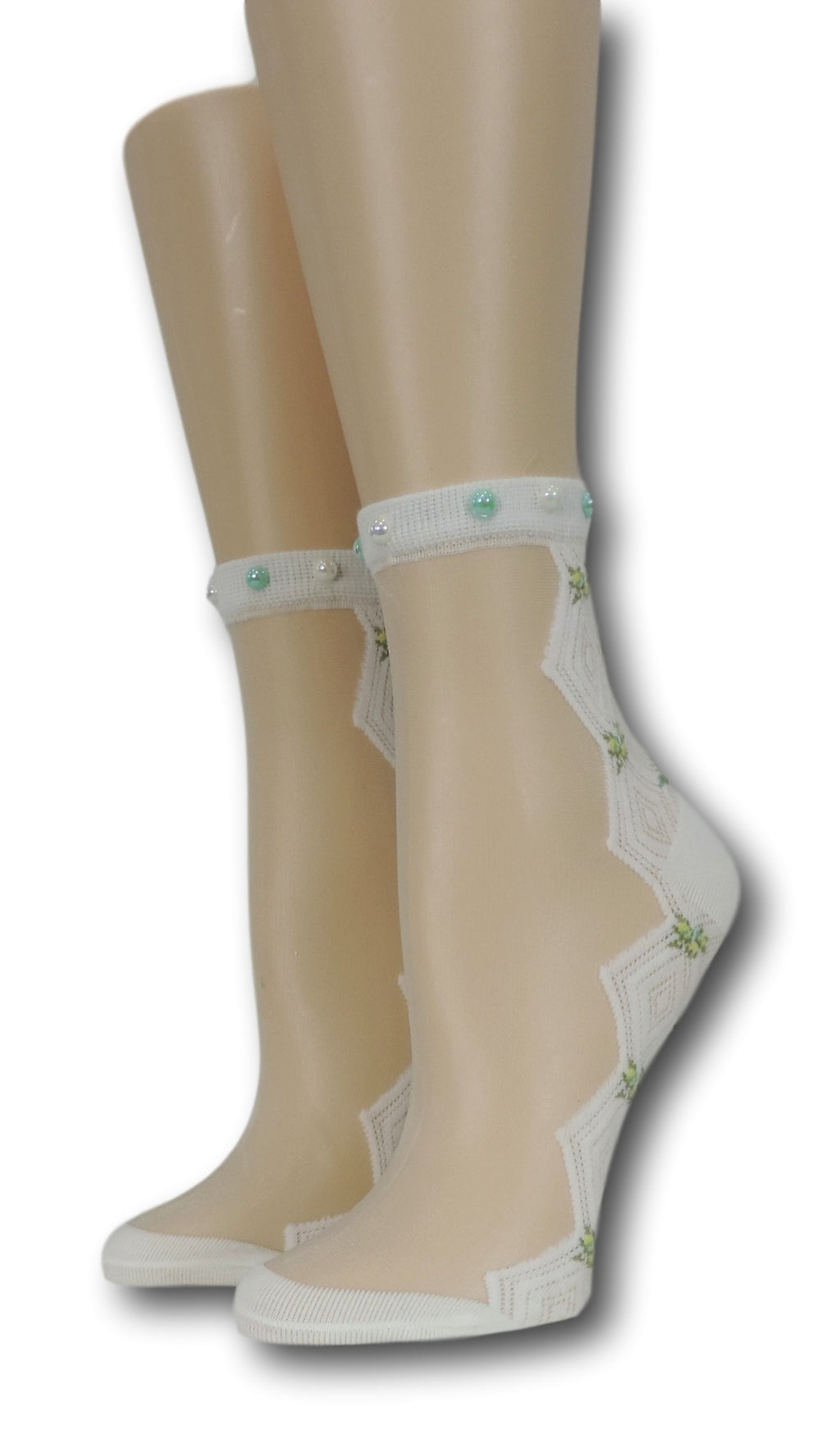 White Zig Zag Sheer Socks  with beads