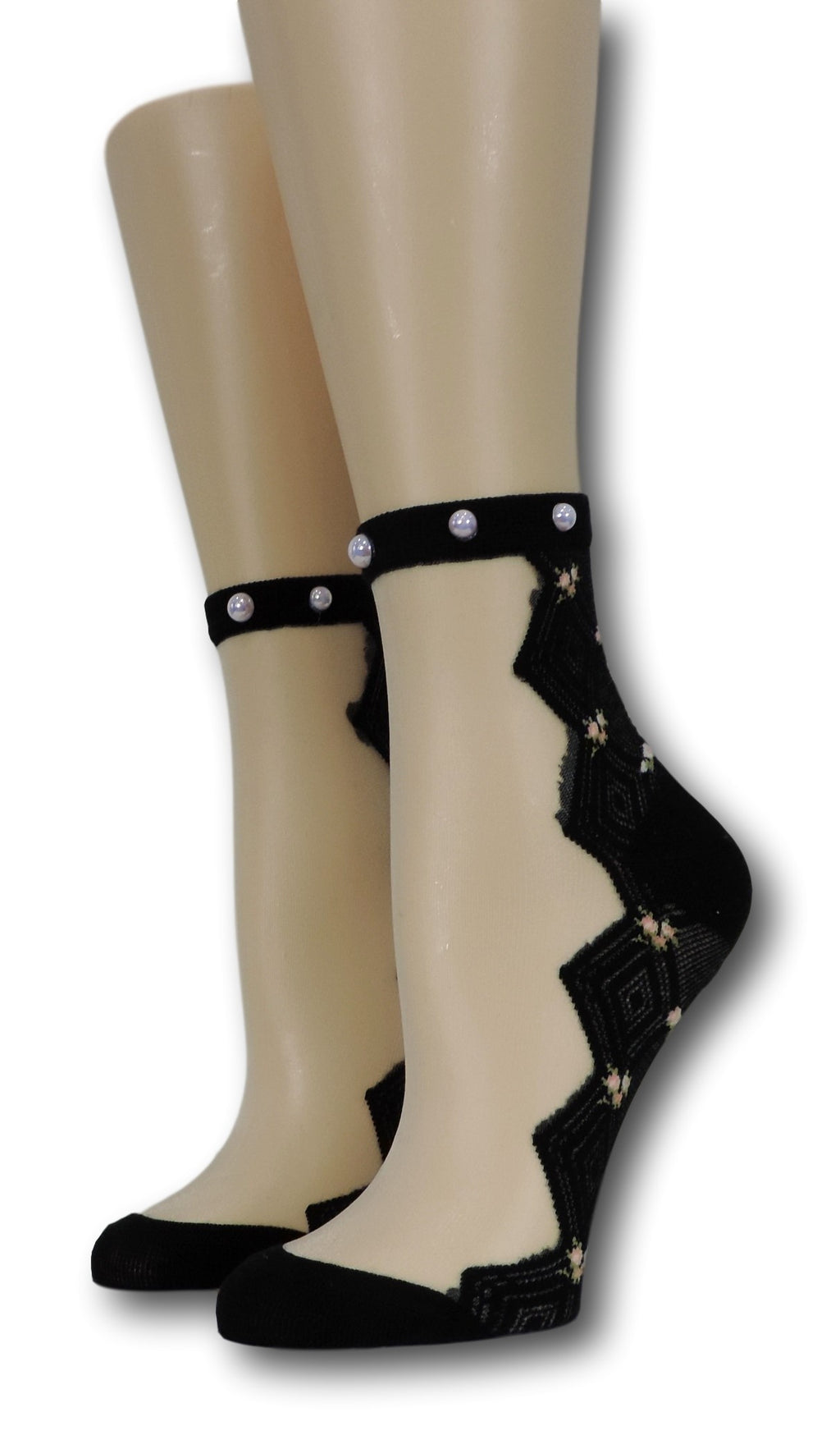 Taupe Zig Zag Sheer Socks with beads