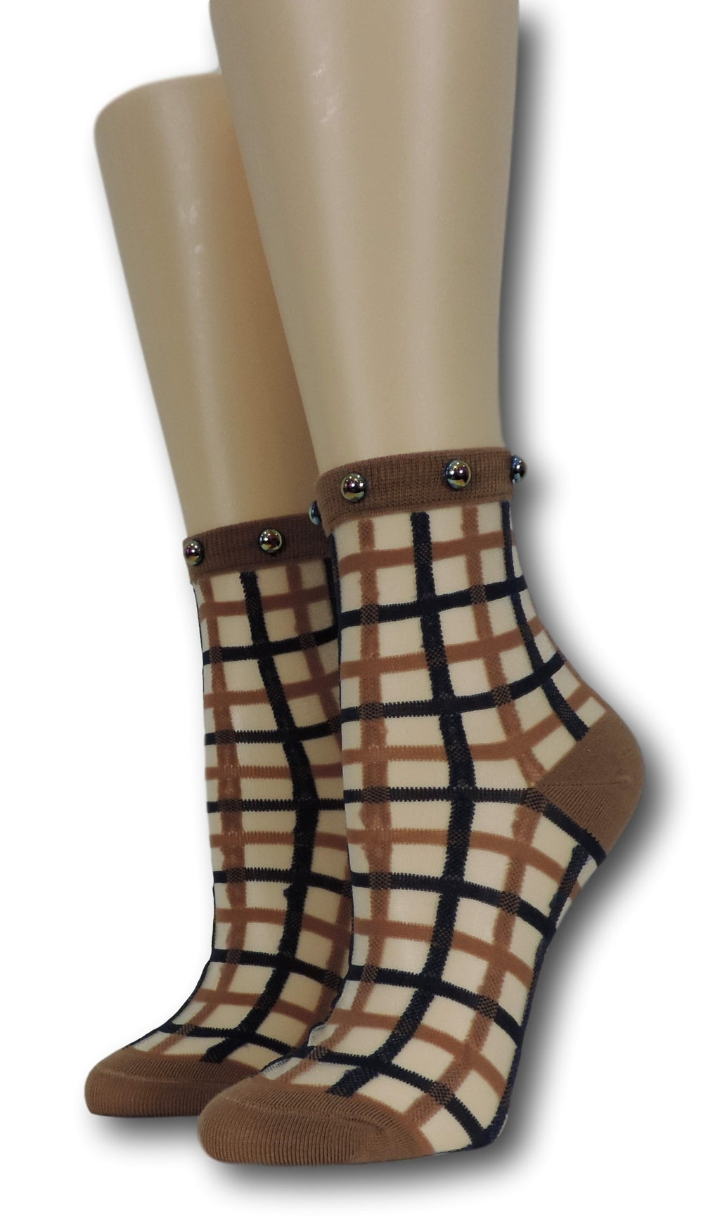 Brown Vintage Sheer Socks with beads